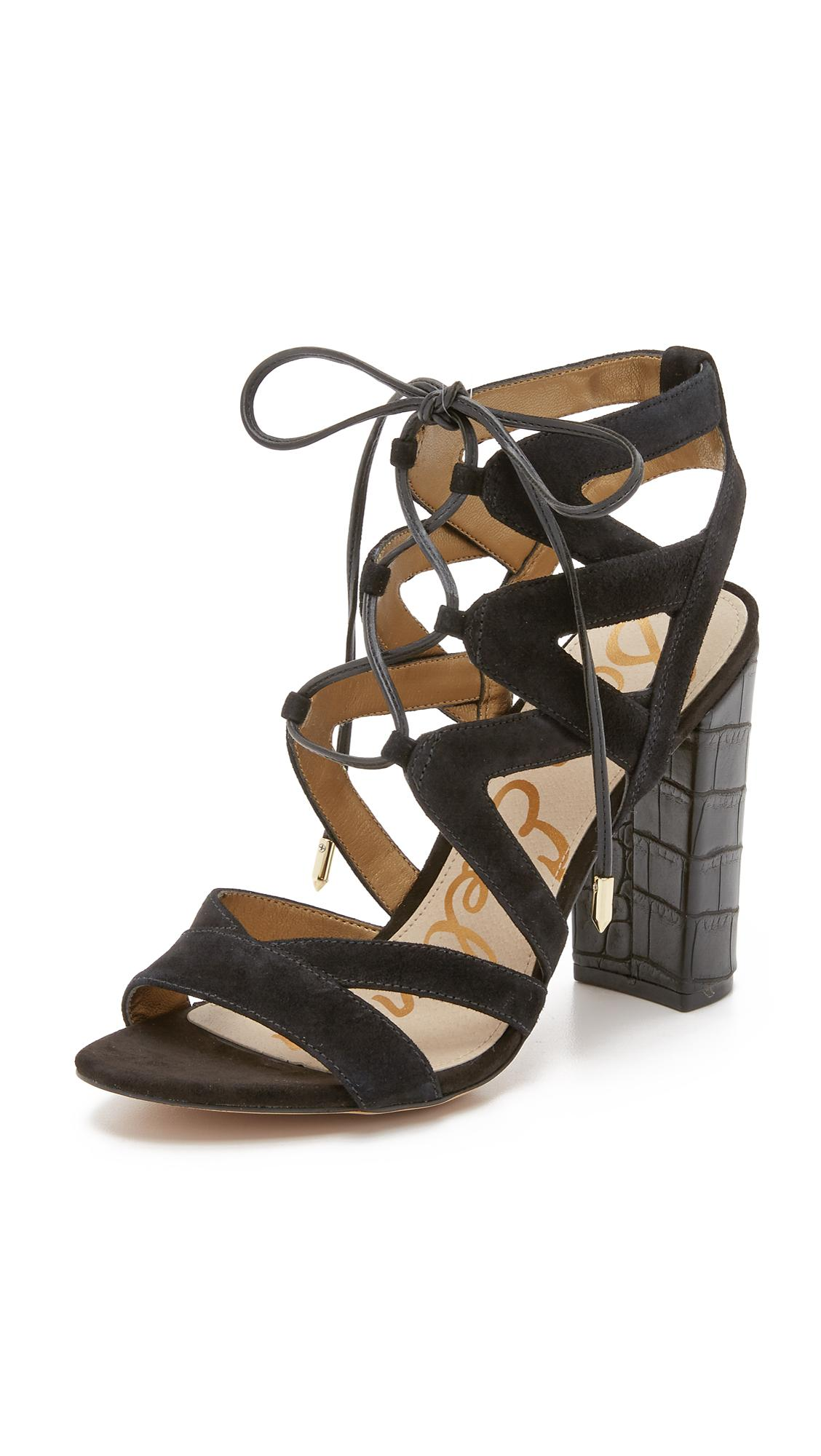 62d1141e61b41 Sam Edelman Yardley Lace Up Sandals in Black - Lyst