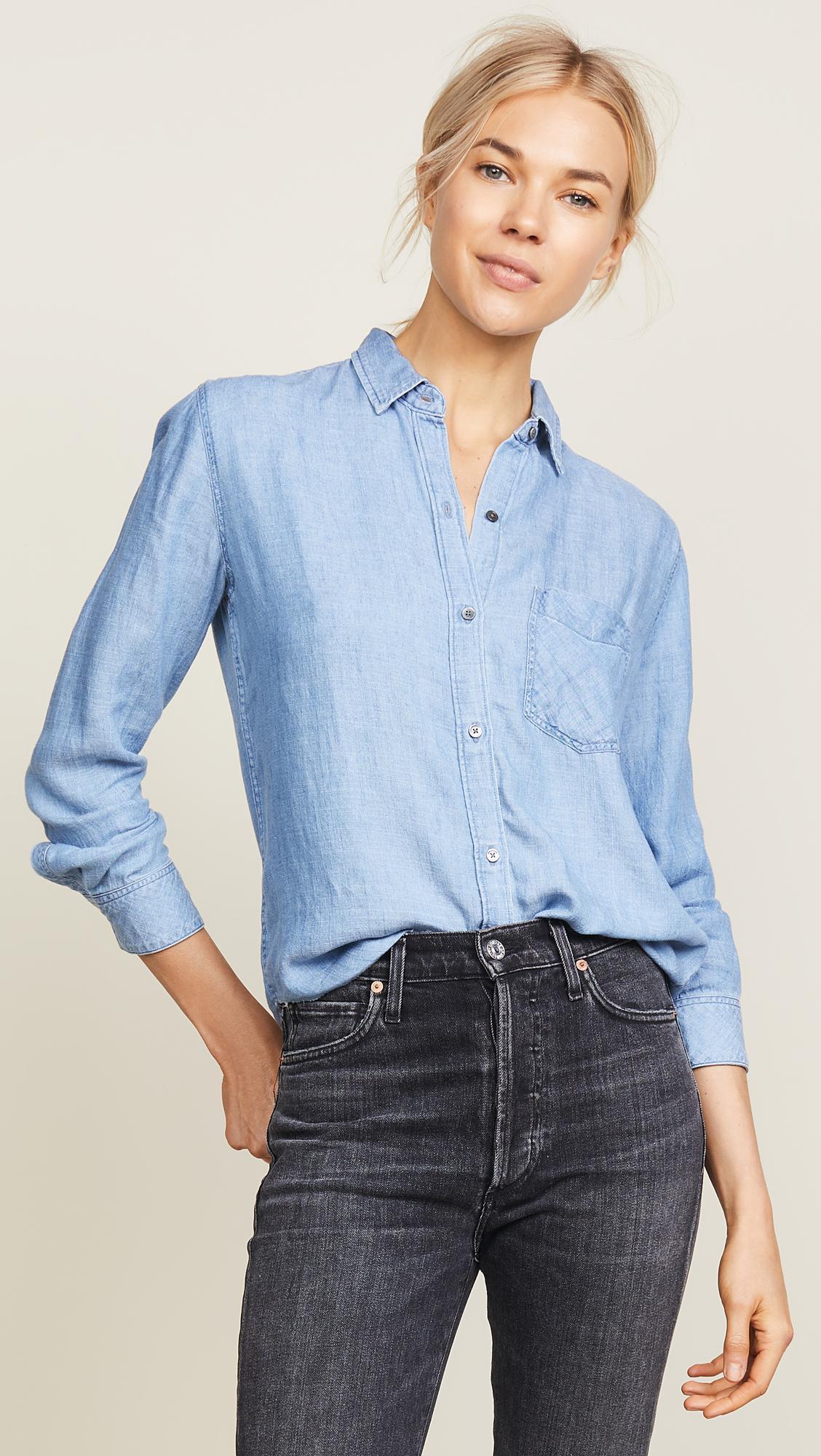 b943a5badcc8e Rails Ingrid Raw Button Down Shirt in Blue - Lyst