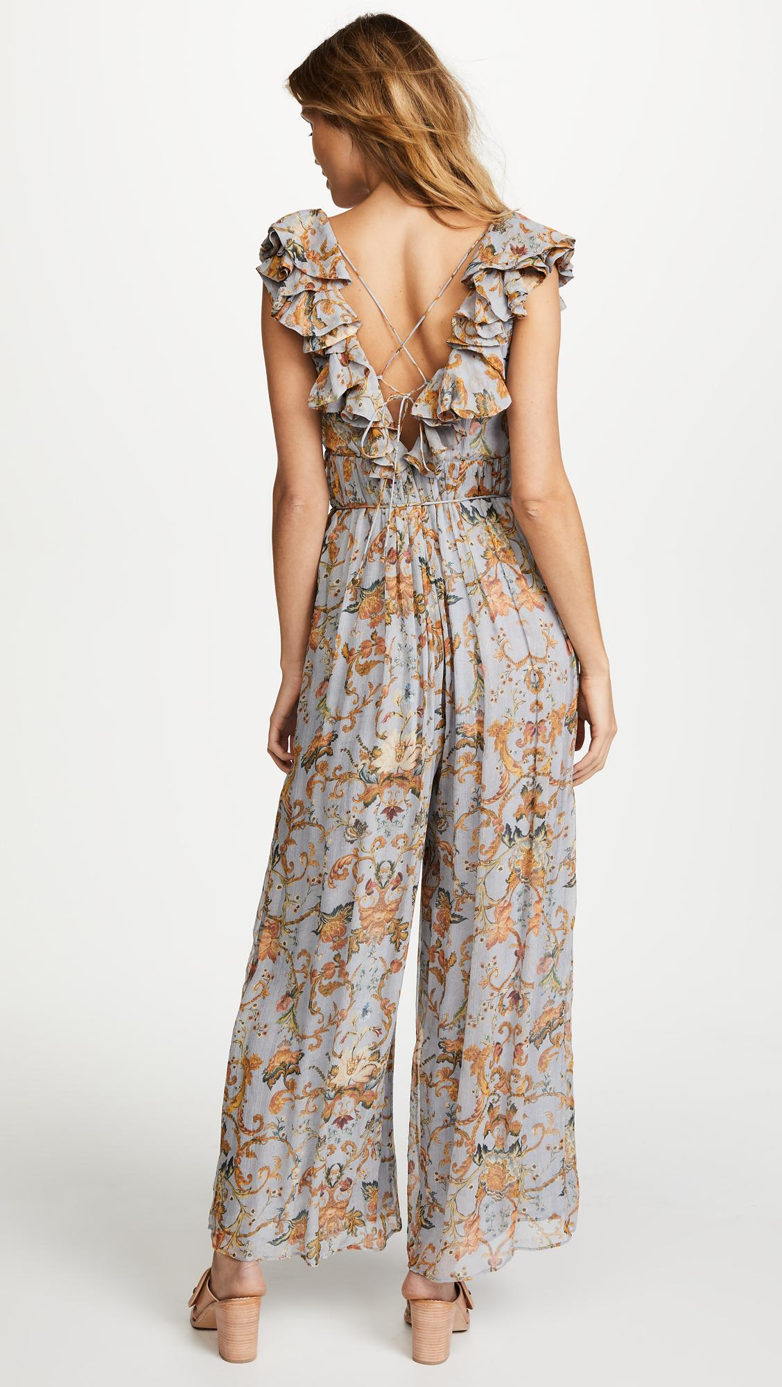 99ebb22c2a Lyst - Zimmermann Painted Heart Cascade Jumpsuit in Gray