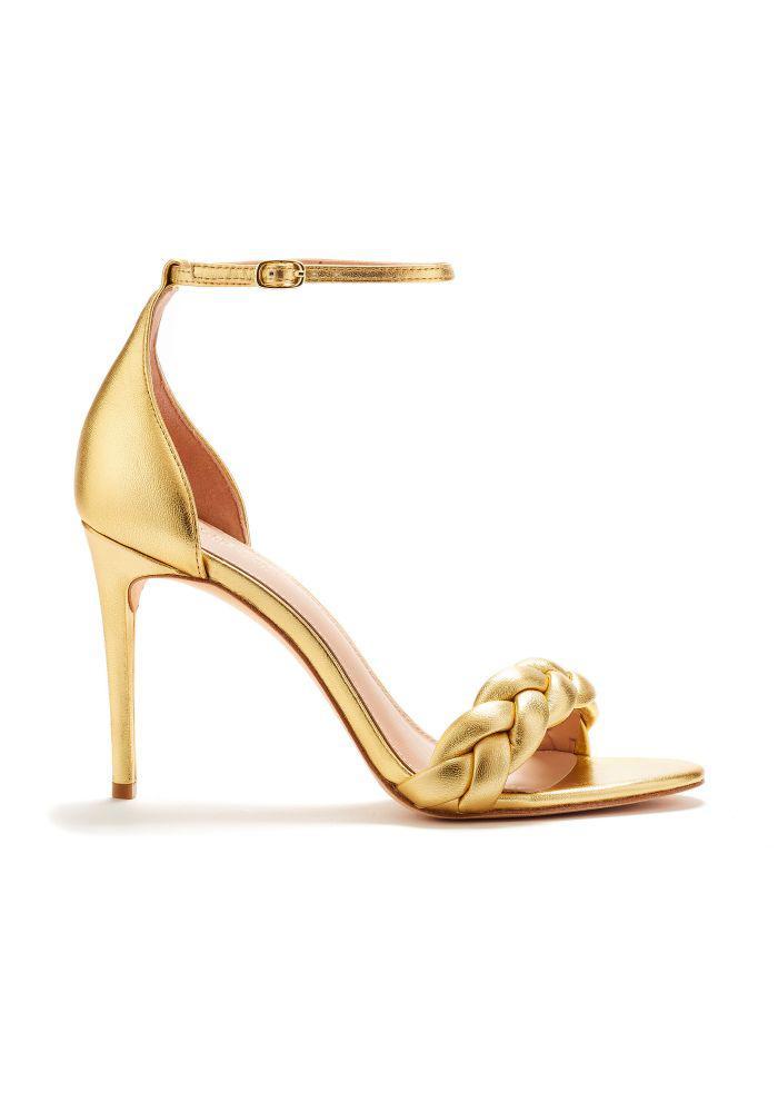2187ea80112066 Lyst - Rachel Zoe Ashton Braided Metallic Leather Heeled Sandals in ...