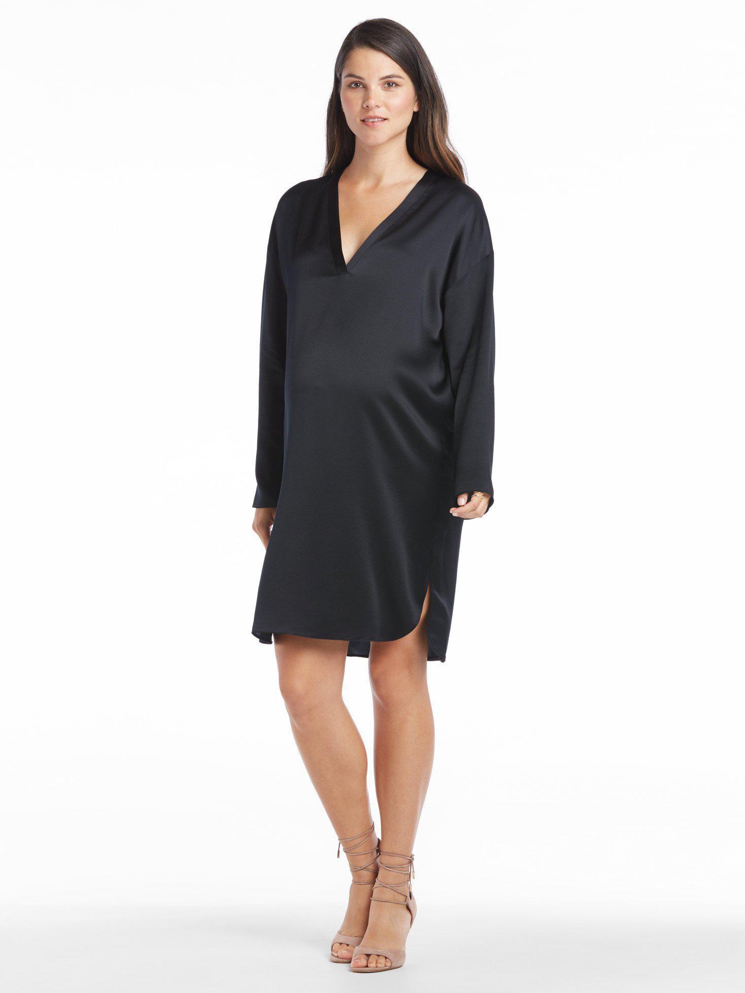 8677f00f728488 Lyst - Vince Satin V-neck Tunic Dress in Black