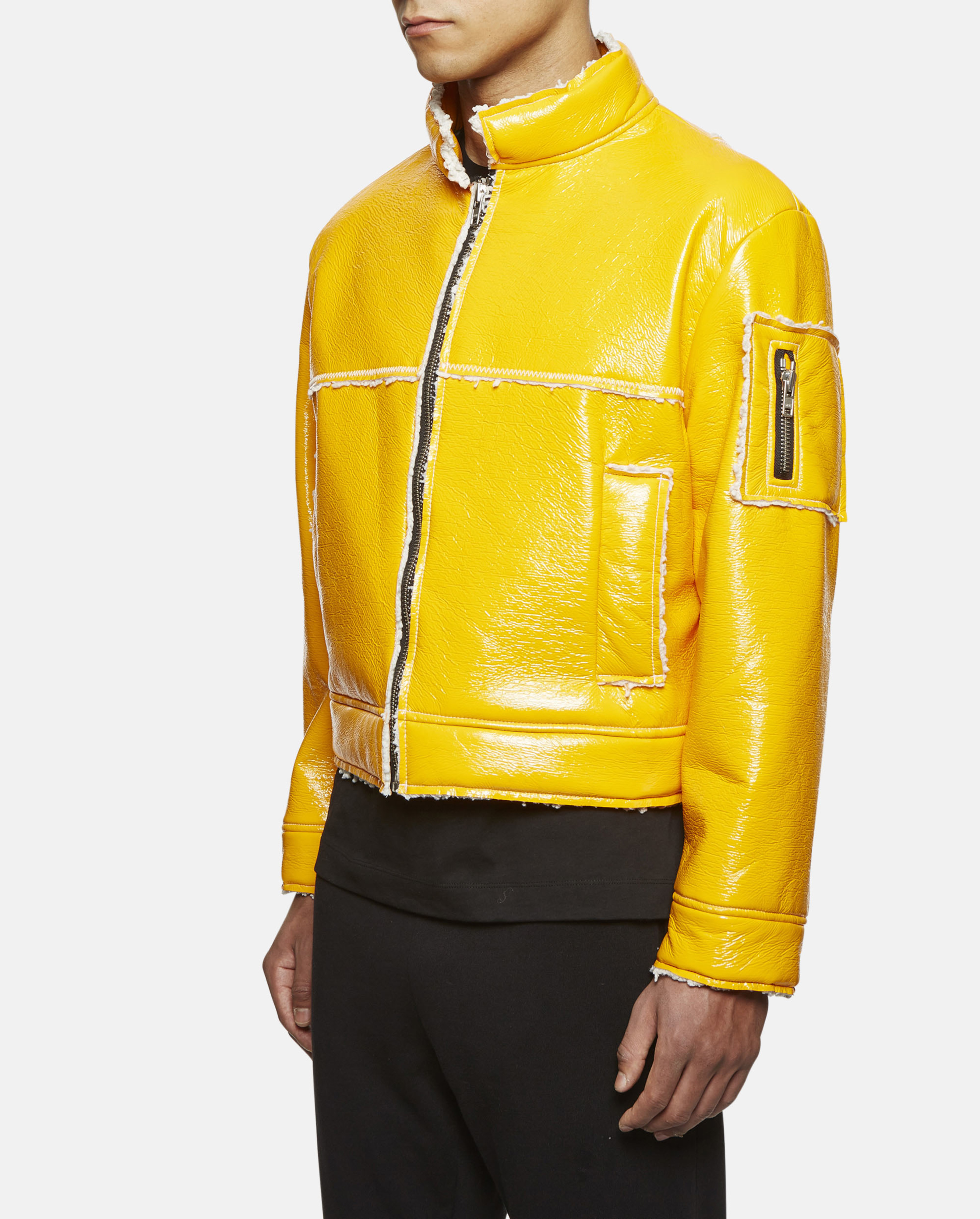 Gosha rubchinskiy Faux Sheepskin Short Jacket in Yellow for Men | Lyst