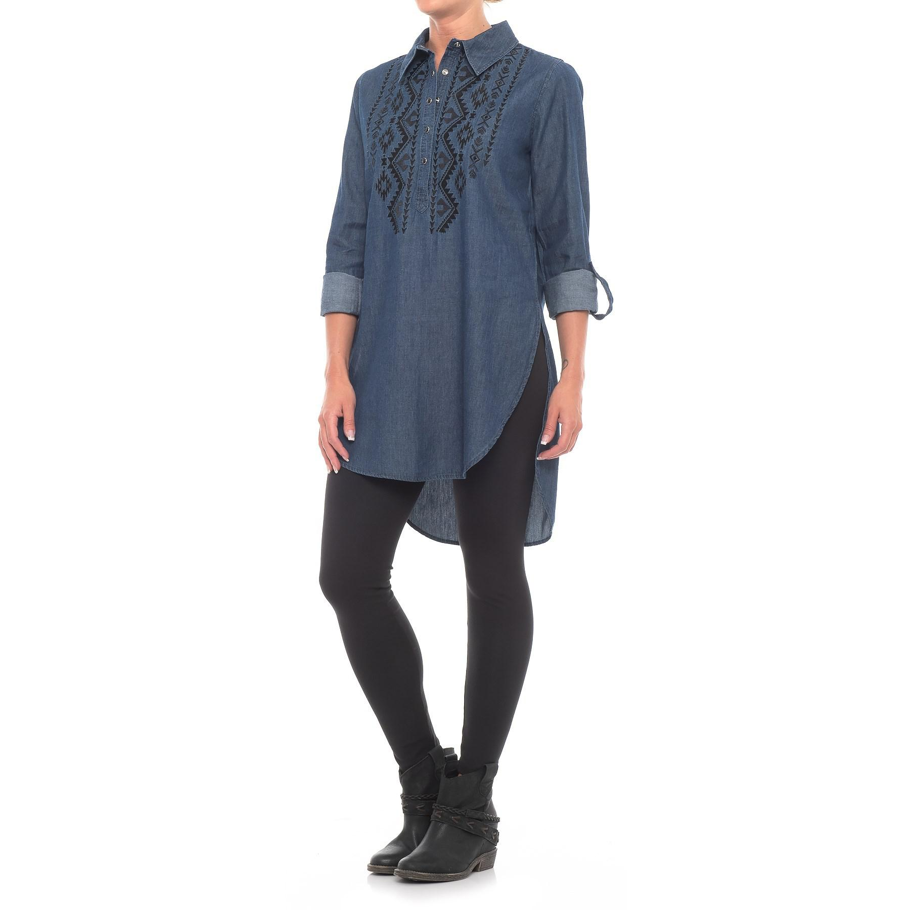 Lyst Roper Embroidered Denim Tunic Shirt In Blue