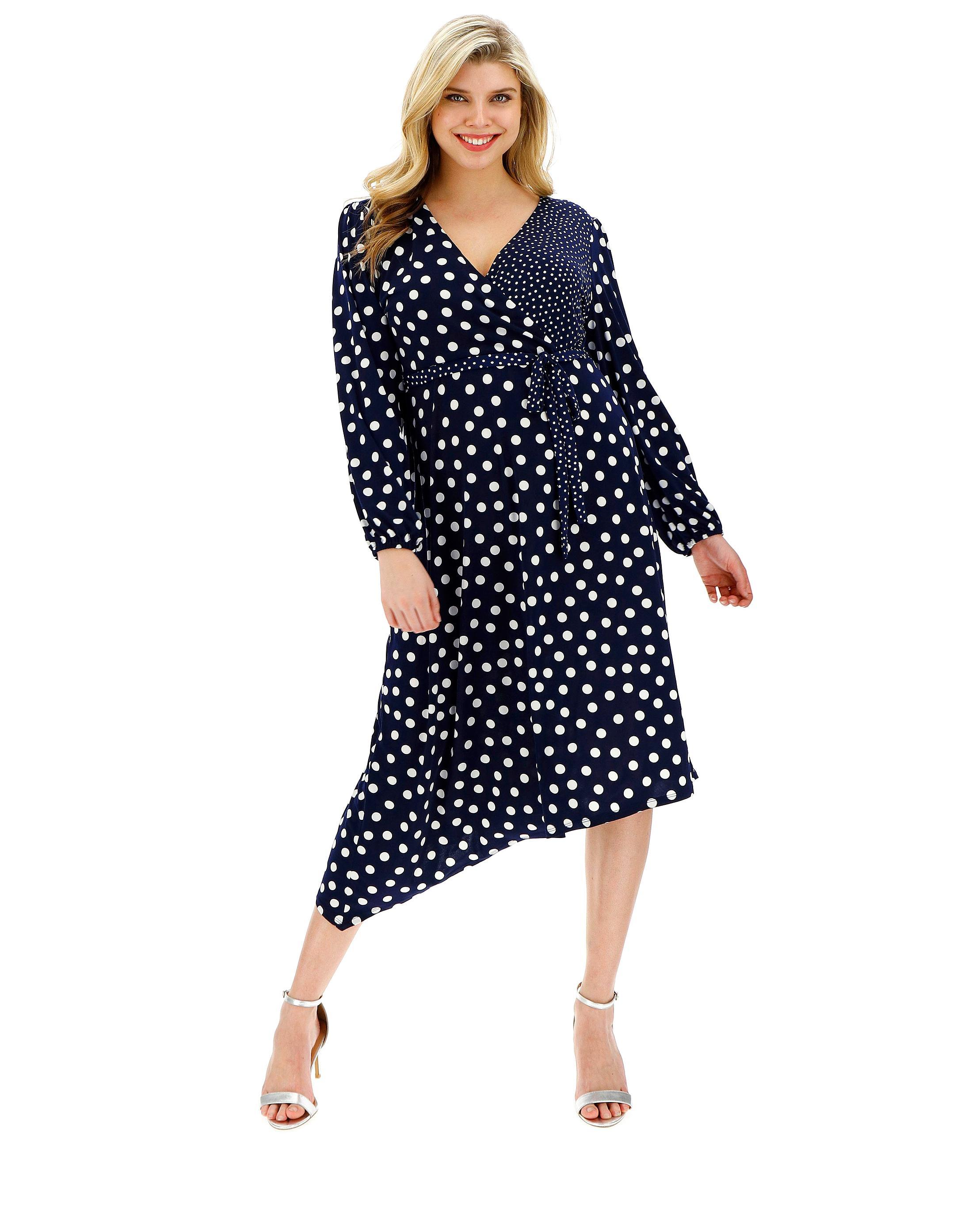b251c75b6fa8 Lyst - Simply Be Oasis Curve Patchde Spot Midi Dress in Blue