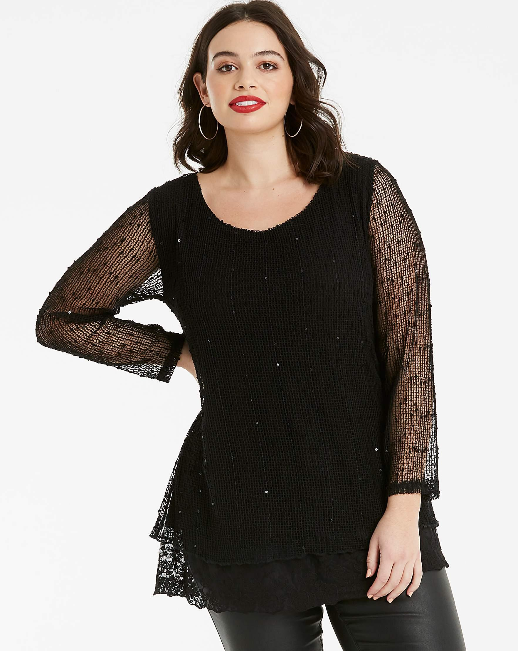 c09e8615aa3b14 Apricot Sequin Knit Top in Black - Lyst