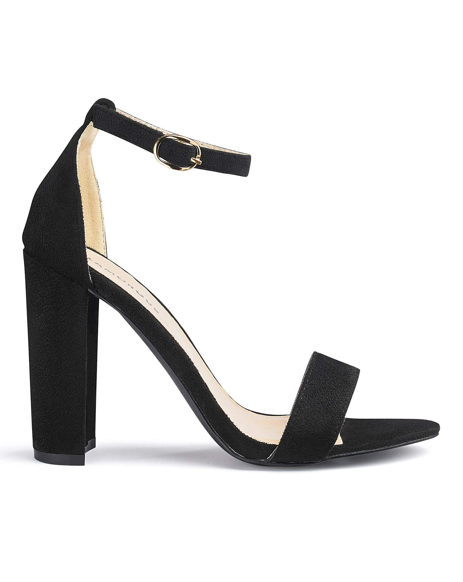 Glamorous Wide Fit Two Part Sandals Black