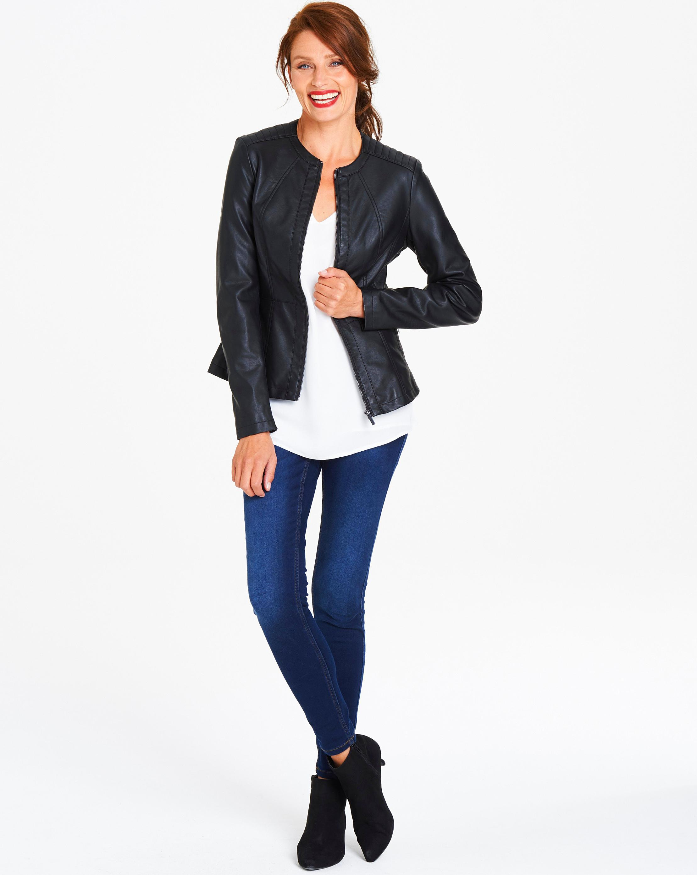 7666fdb35e671 Lyst - Simply Be Oasis Curve Faux Leather Collarless Stitch Jacket ...