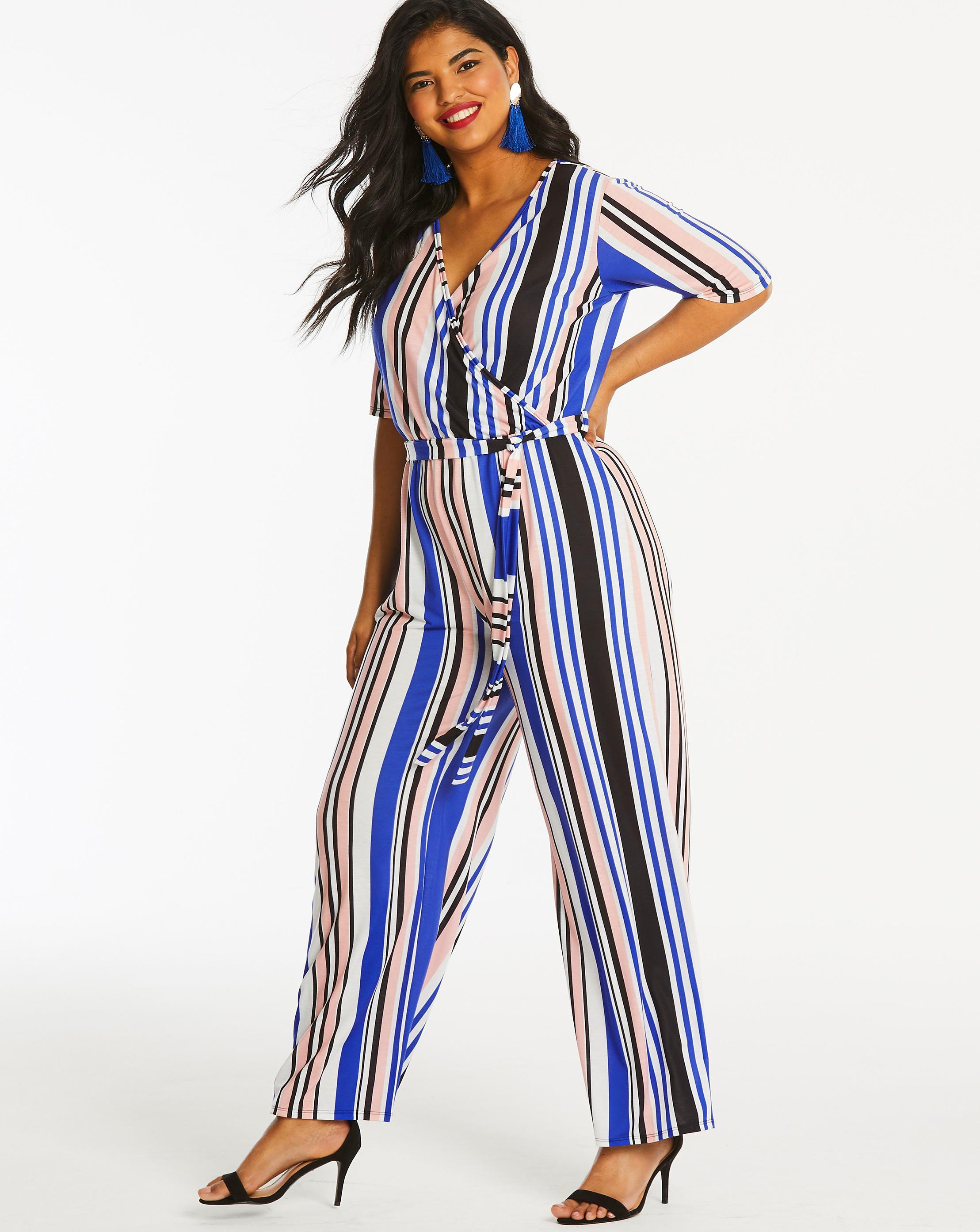 79d6deffd0f Lyst - Simply Be Pink Clove Stripe Jumpsuit in Blue