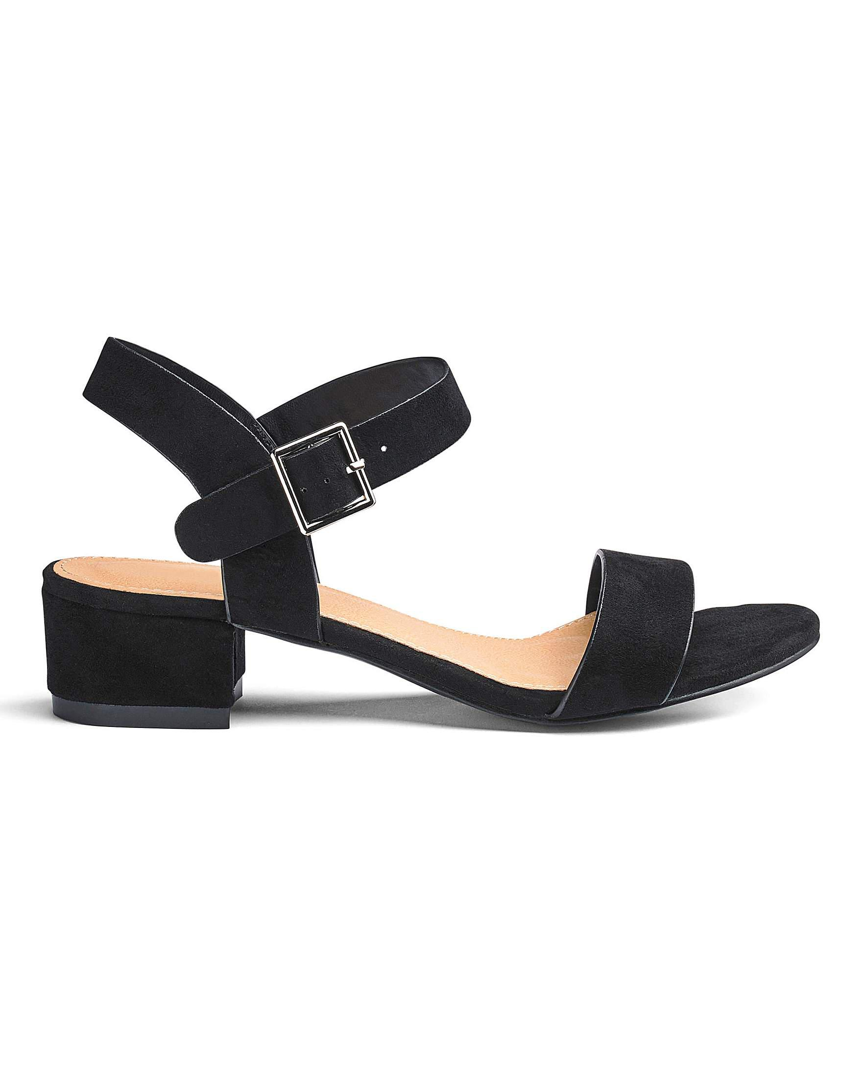 667c19d39bf05f Simply Be Frances Block Heel Sandals Wide Fit in Black - Lyst