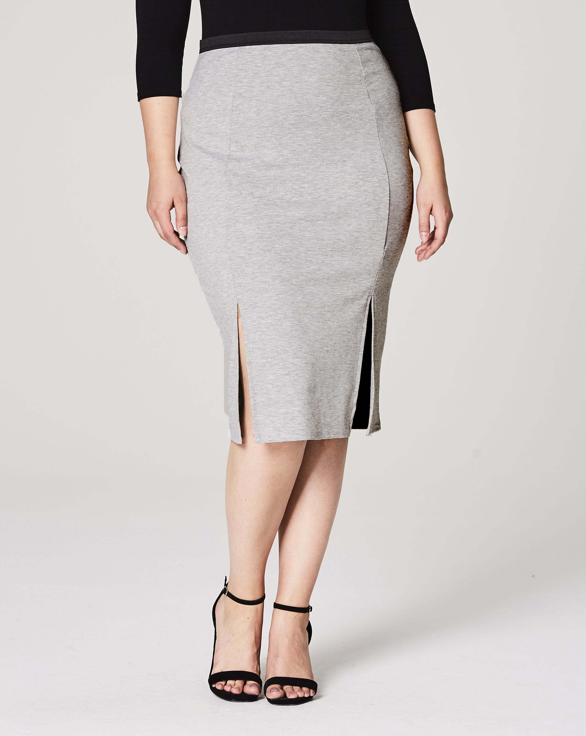 c1a60074903 Lyst - Simply Be Double Split Jersey Midi Pencil Skirt in Gray