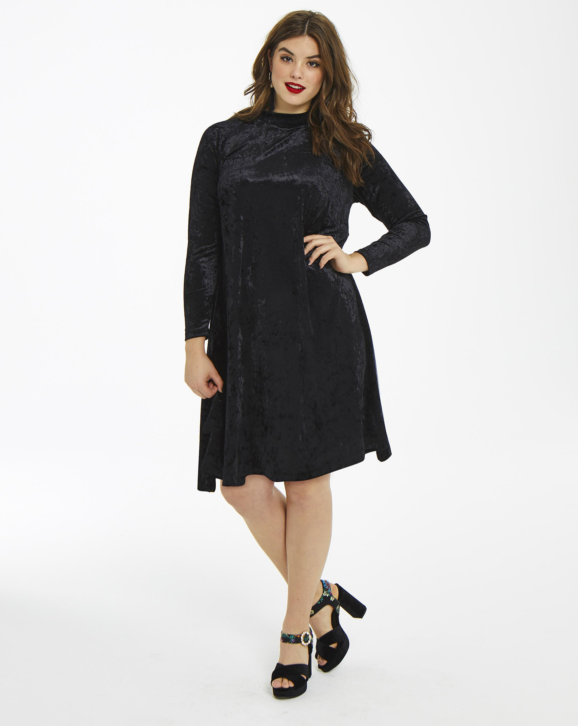6691b322270b Simply Be Glamorous Curve Crushed Velour Swing Dress in Black - Lyst