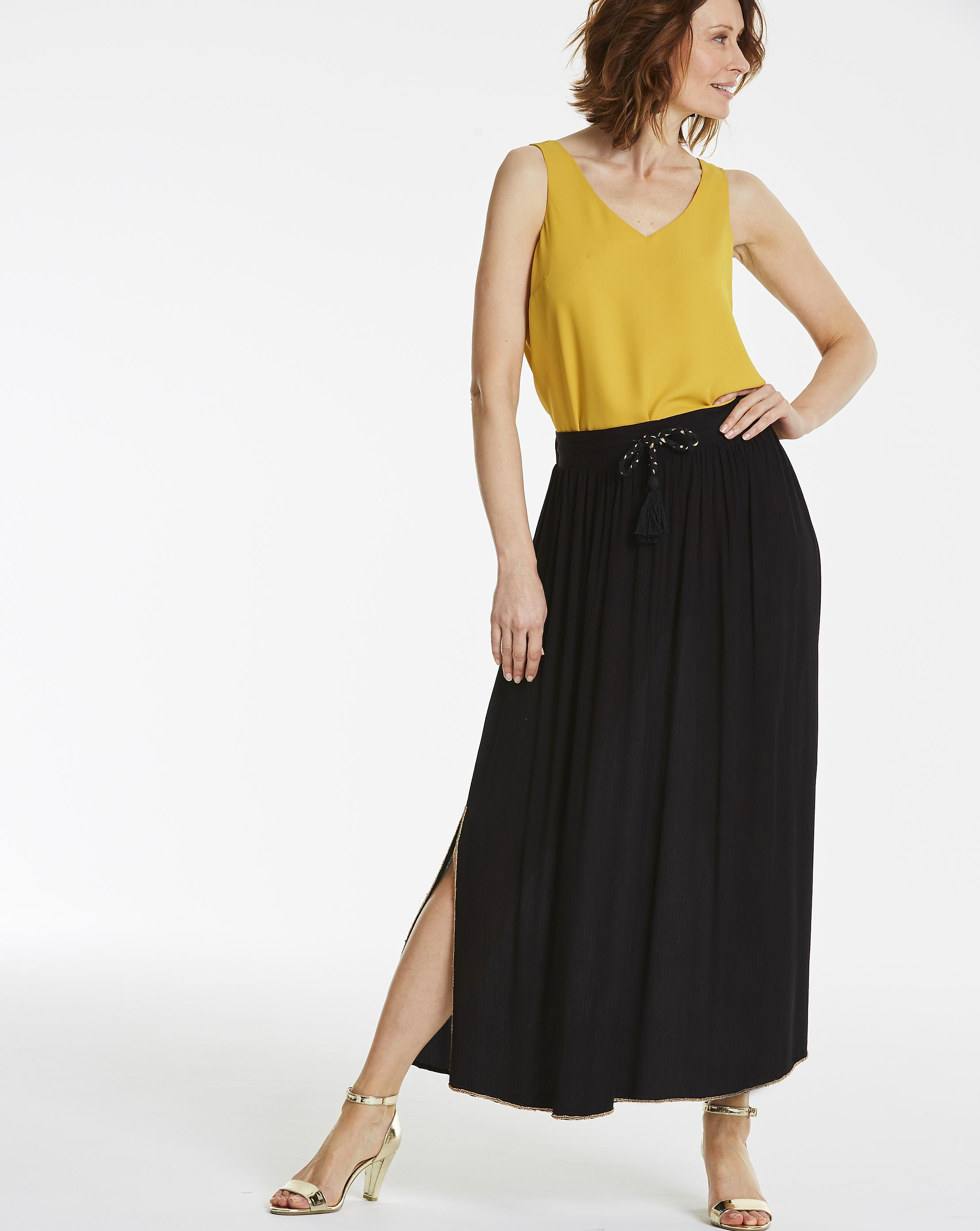 3899e62b95ddc Lyst - Simply Be Beaded Trim Crinkle Maxi Skirt in Black