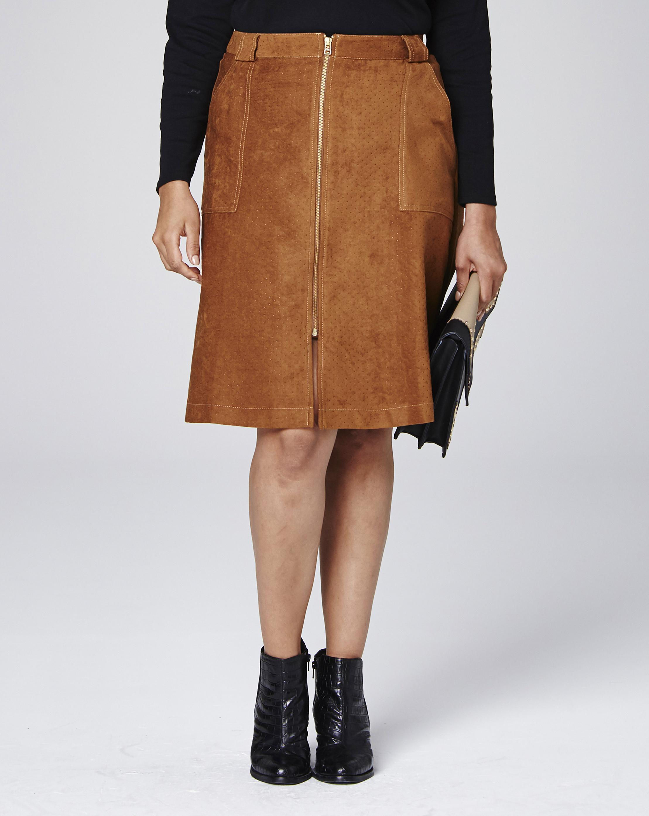 2970fa3b49 Lyst - Simply Be Suedette Punched Split Front Zipper Skirt in Brown