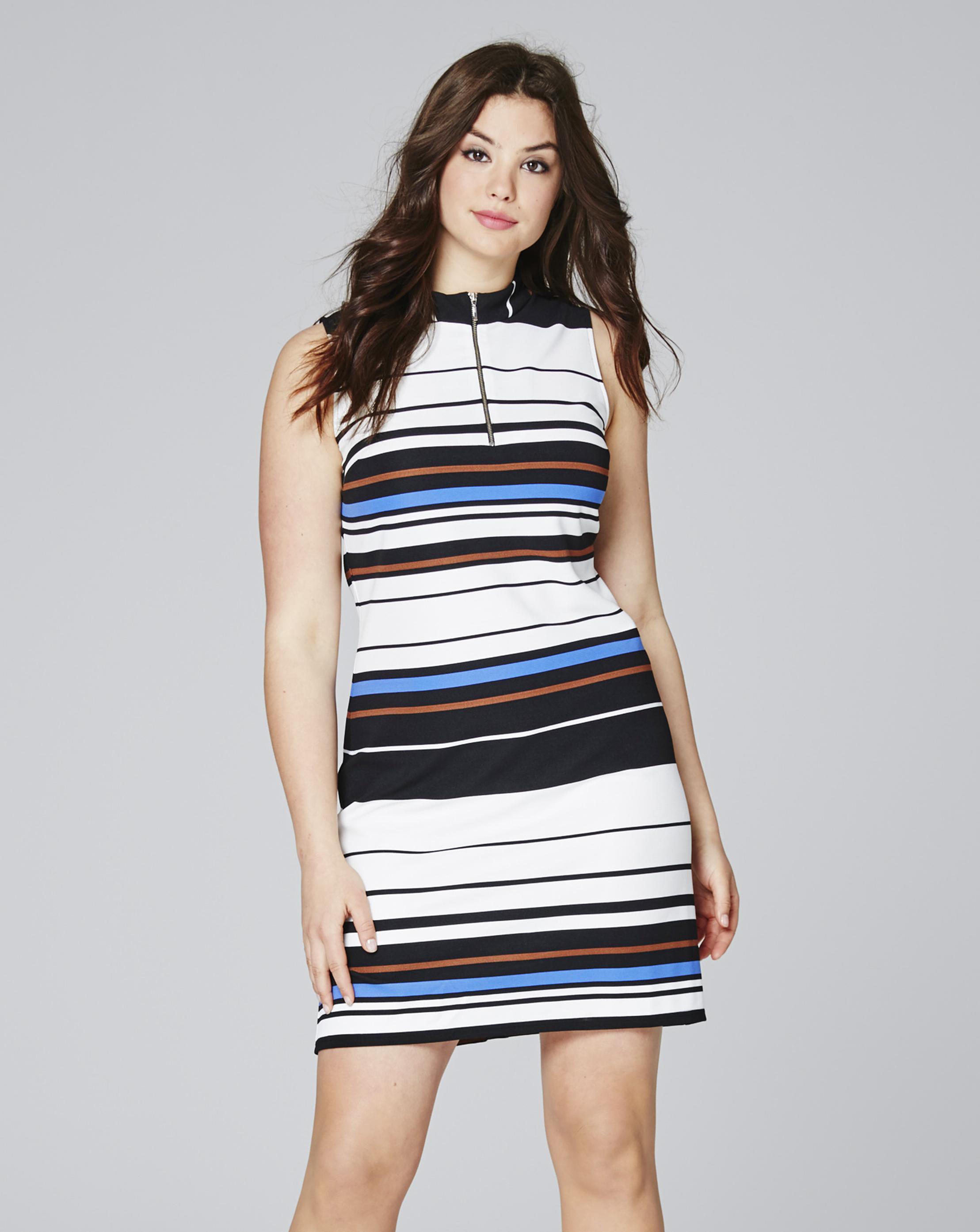 d6ea42be01a Lyst - Simply Be Multi Stripe High Neck Rib Bodycon Dress in Blue