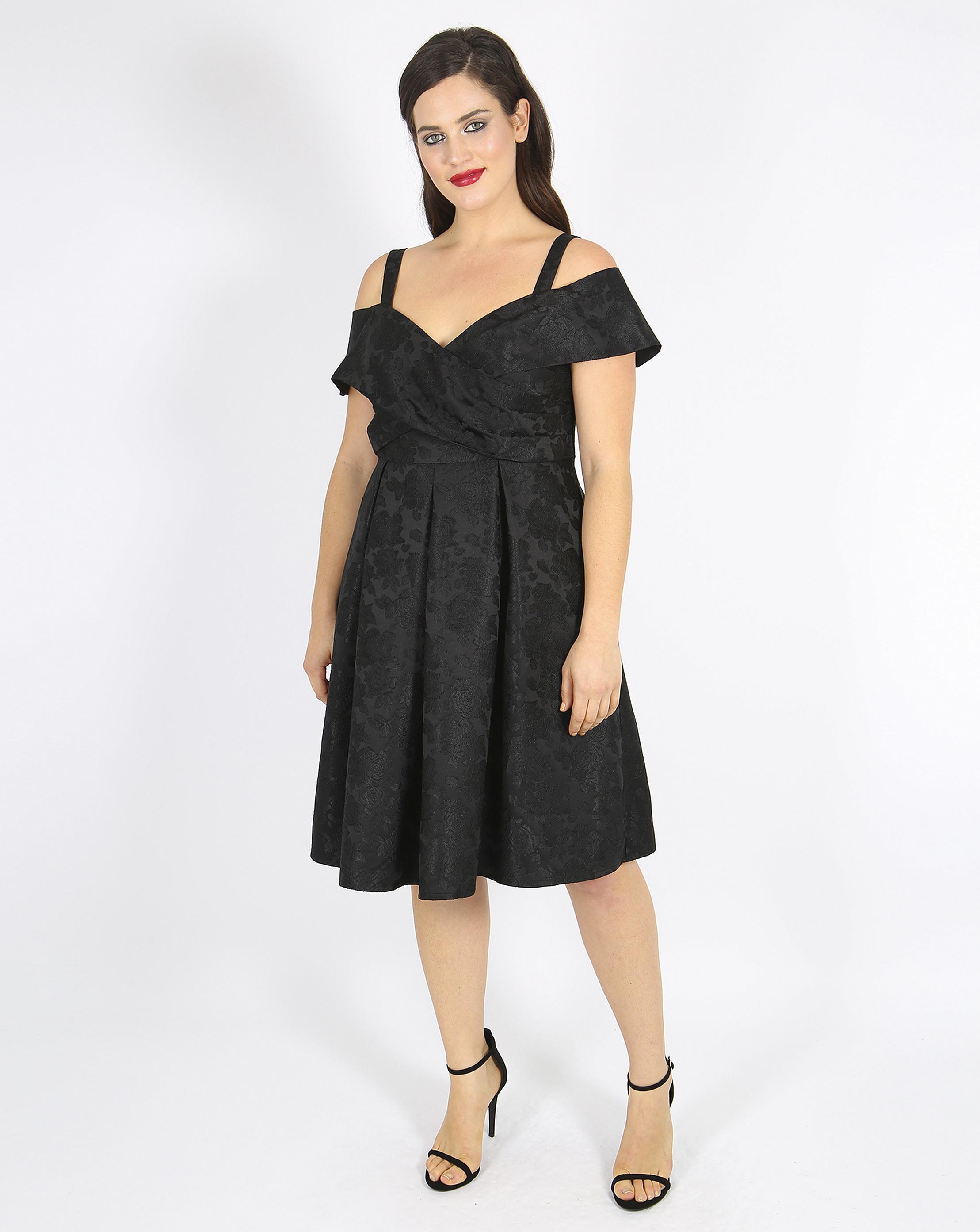 Lyst - Simply Be Lovedrobe Bardot Jacquard Prom Dress in Black