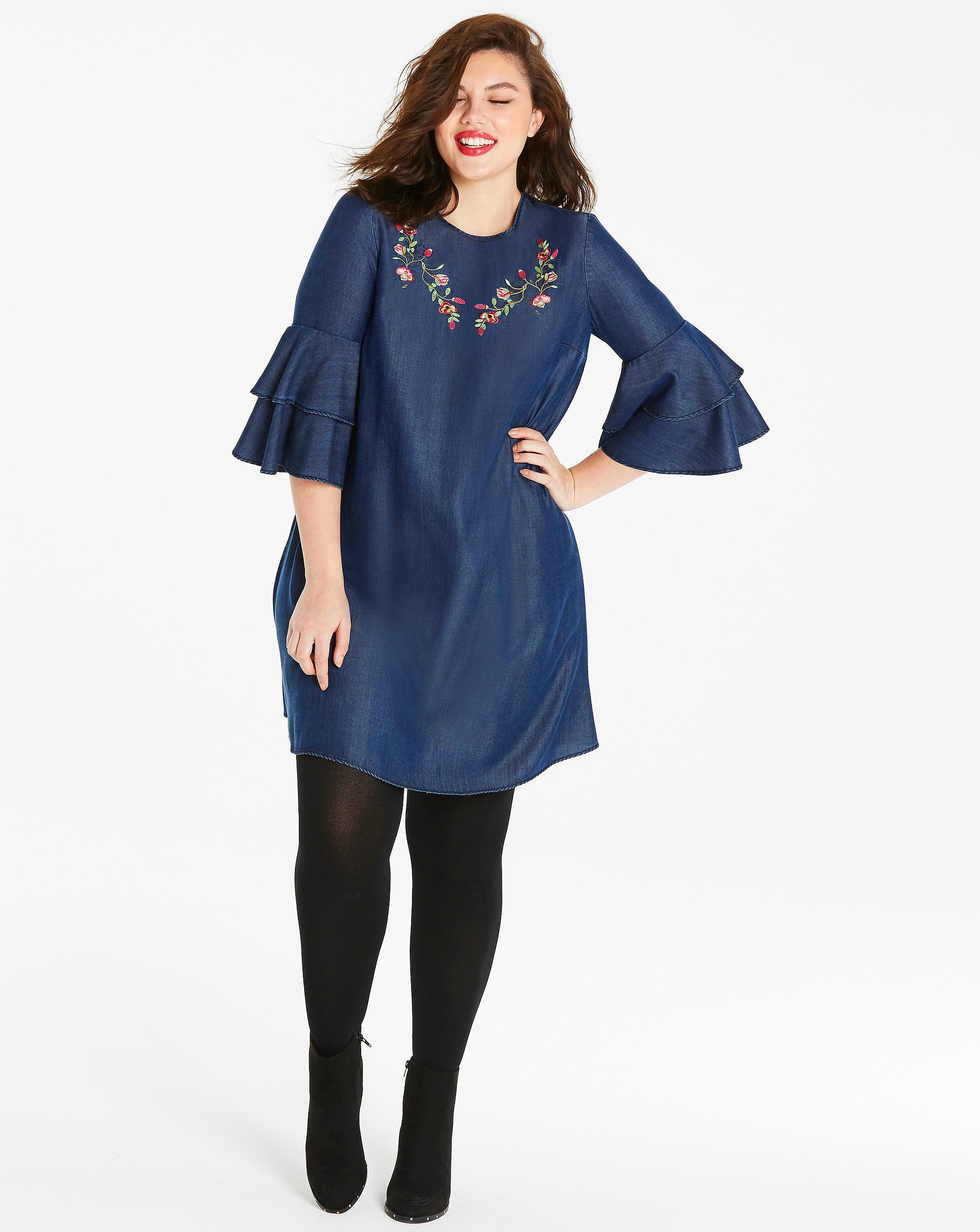 31c8ee6153 Lyst - Simply Be Embroidered Flared Sleeve Denim Swing Dress in Blue