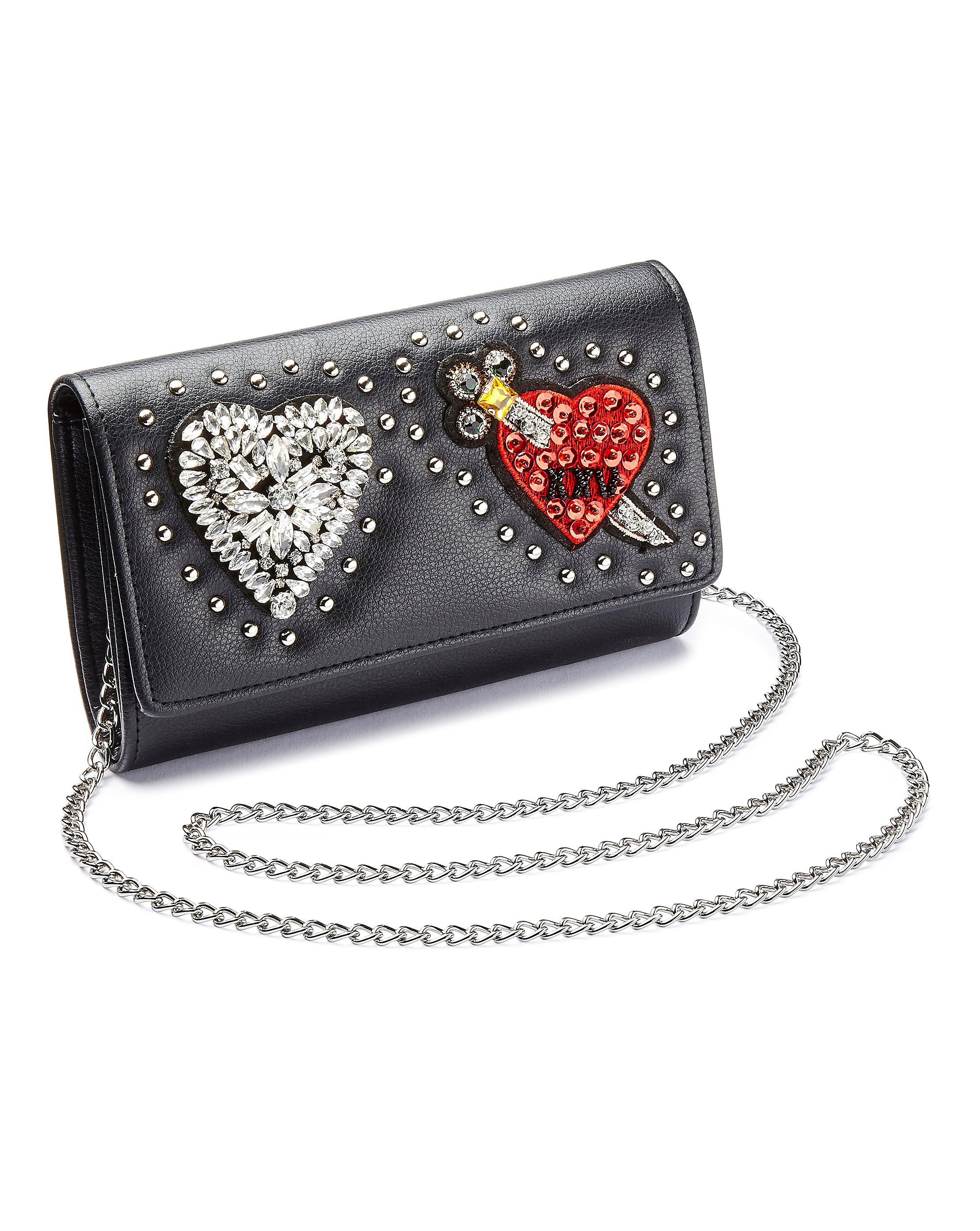 ead838aa5ed8 Lyst - Simply Be Heart Badge Clucth Bag in Black