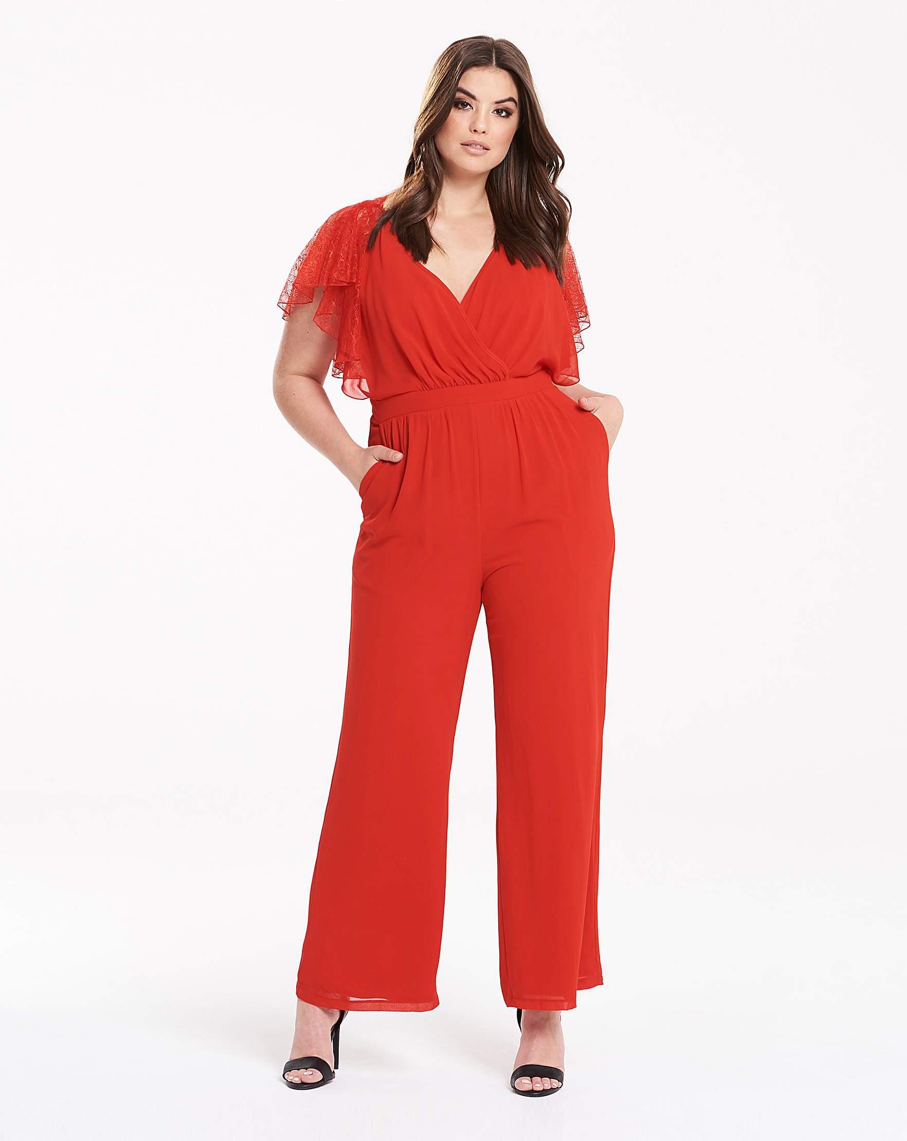 1d73035895 Little Mistress Lace Cape Jumpsuit in Red - Lyst