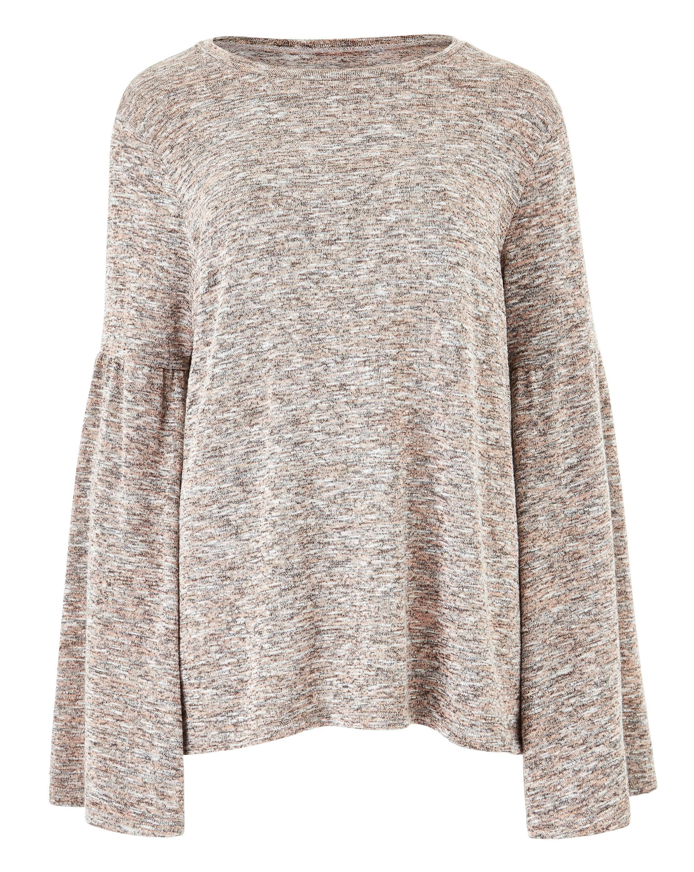 67f70eea490f Lyst - Simply Be Space Dye Flared Sleeve Jersey Top in Brown