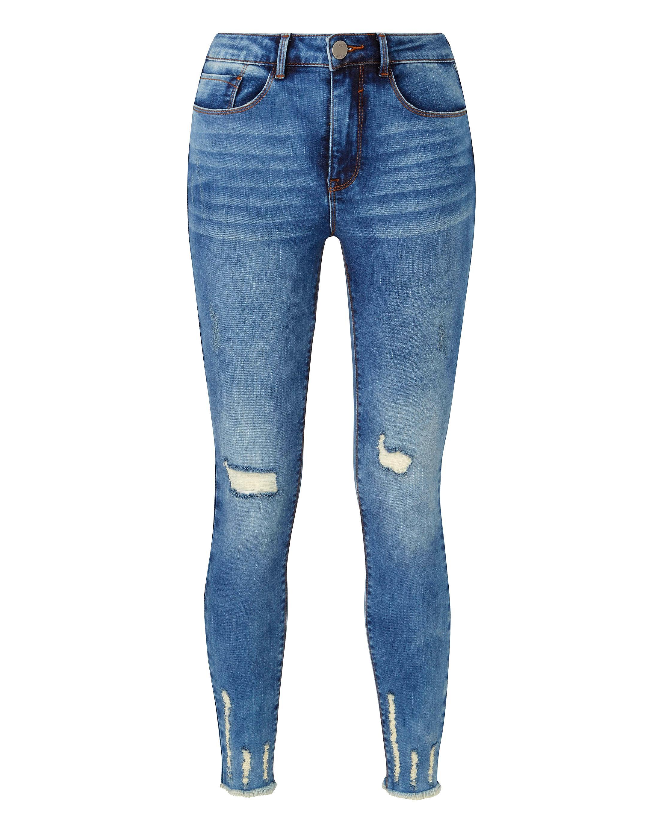 41f9a56d8f2 Lyst - Simply Be Chloe Chewed Low Hem High Waist Skinny Jeans in Blue