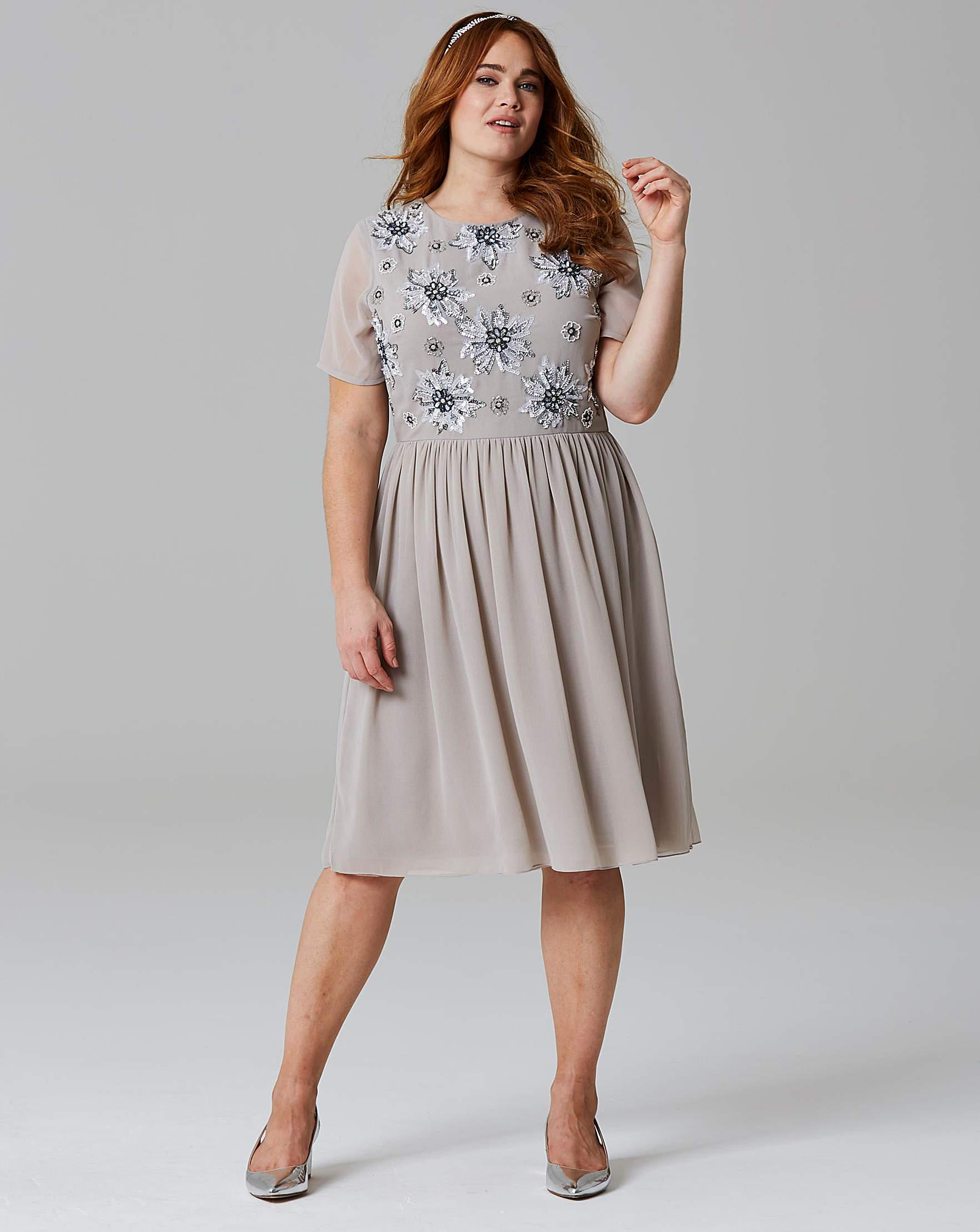 Simply Be Beaded Prom Dress in Gray - Lyst