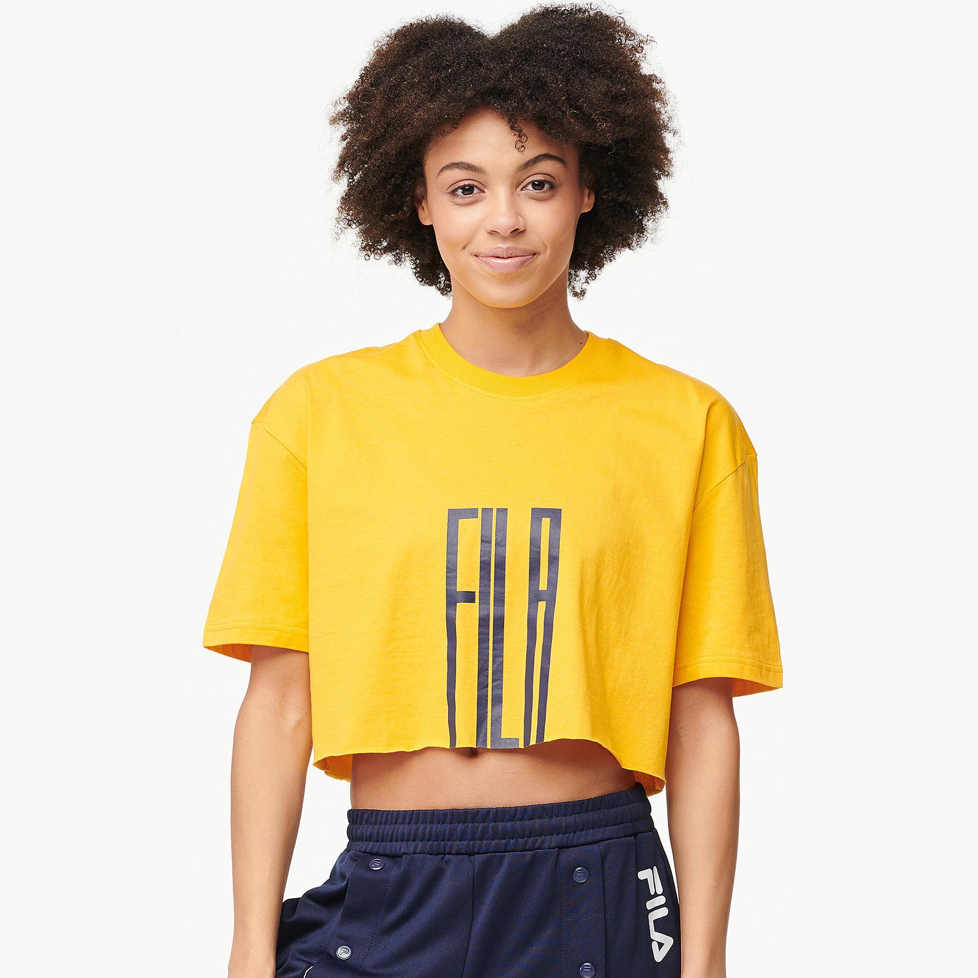 55c909f56 Lyst - Fila Domenica Yellow Crop T-shirt - Womens Xs in Yellow