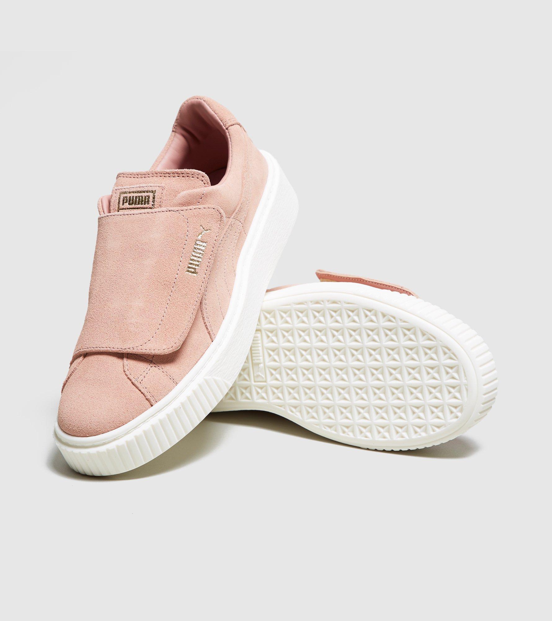 24b5530cafb PUMA Basket Platform Velcro Women's in Pink - Lyst