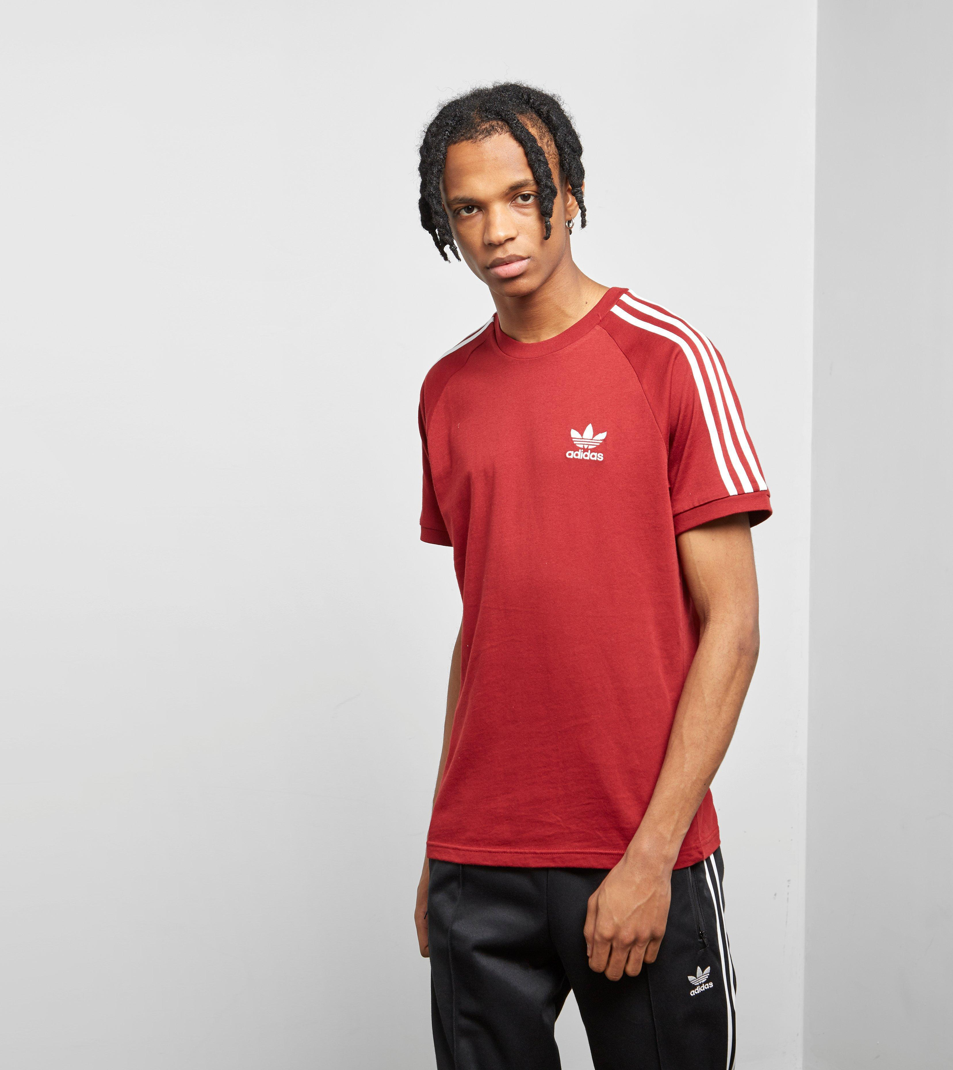 Adidas Originals 3 Stripe T Shirt Red | Toffee Art