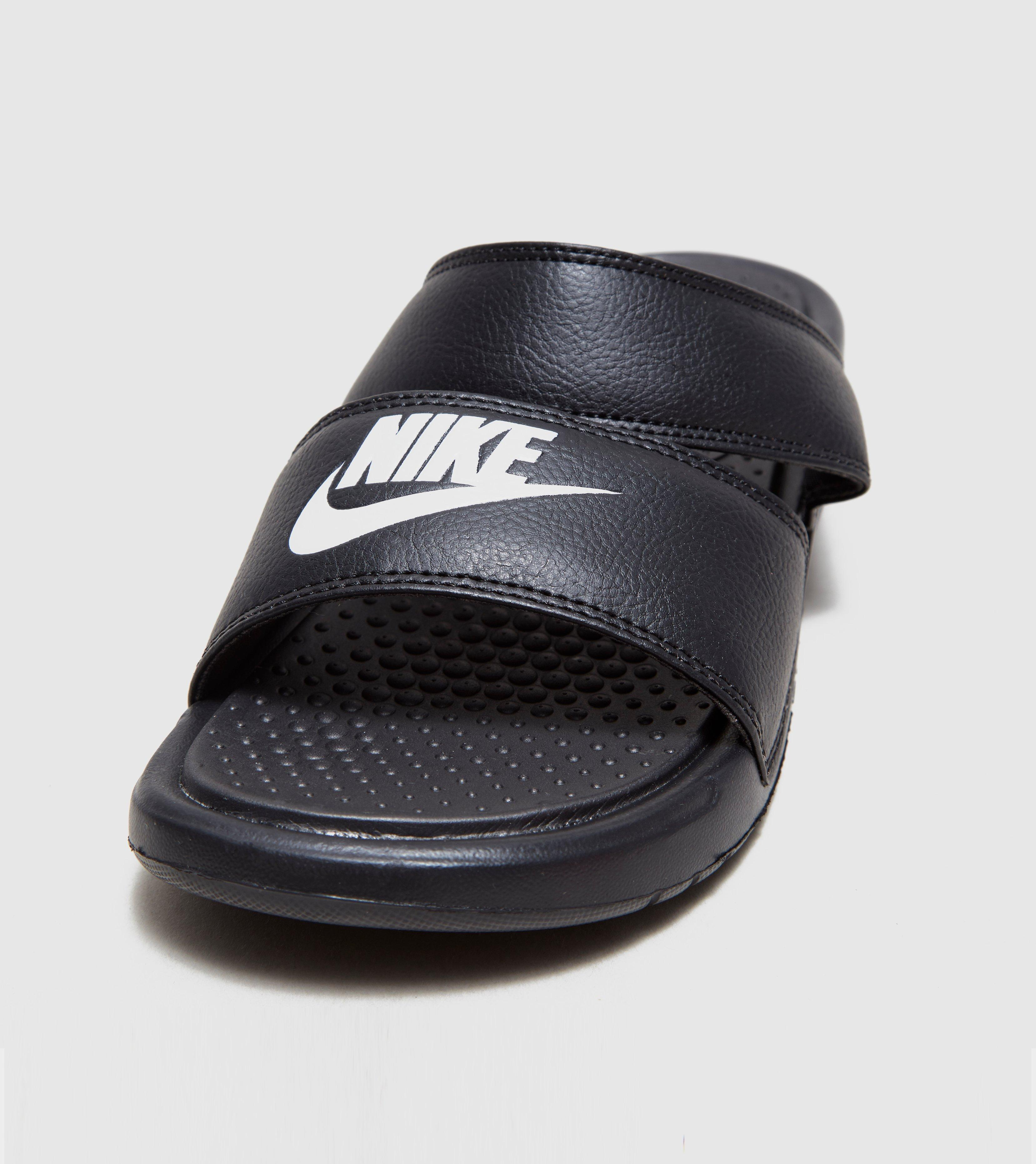 black s slides womens nike comforter comfort women ultra shoes thong blackblack duo benassi in men for lyst gallery