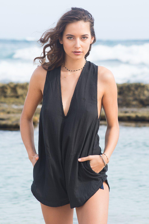 09adbfe1e45e Lyst acacia swimwear haiku cotton jumpsuit in black beauty jpg 1000x1500 Swimwear  haiku acacia romper
