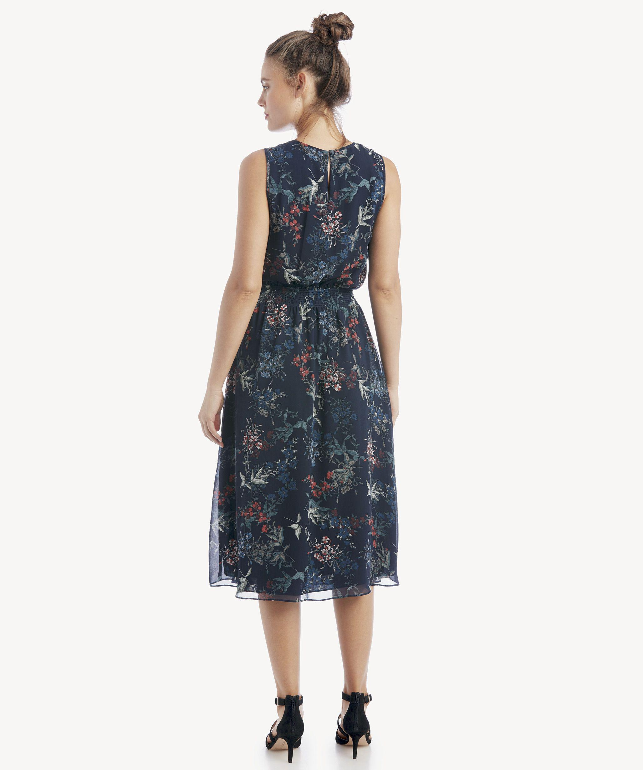 233c379a4d7 Vince Camuto - Blue S l Smocked Waist Garden Floral Dress - Lyst. View  fullscreen