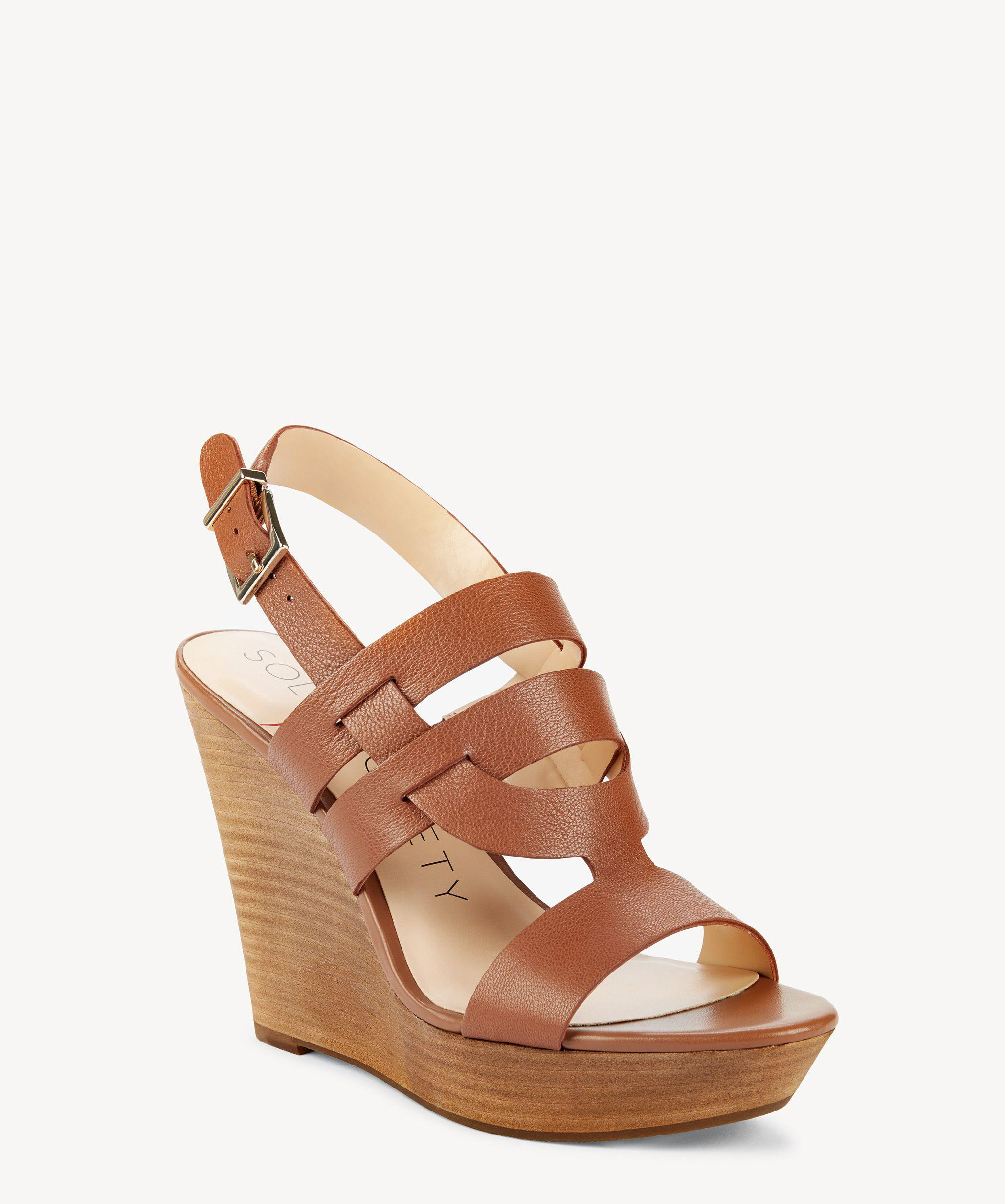 fb1e1006ea2b Lyst - Sole Society Jenny Platform Wedge Sandal in Brown