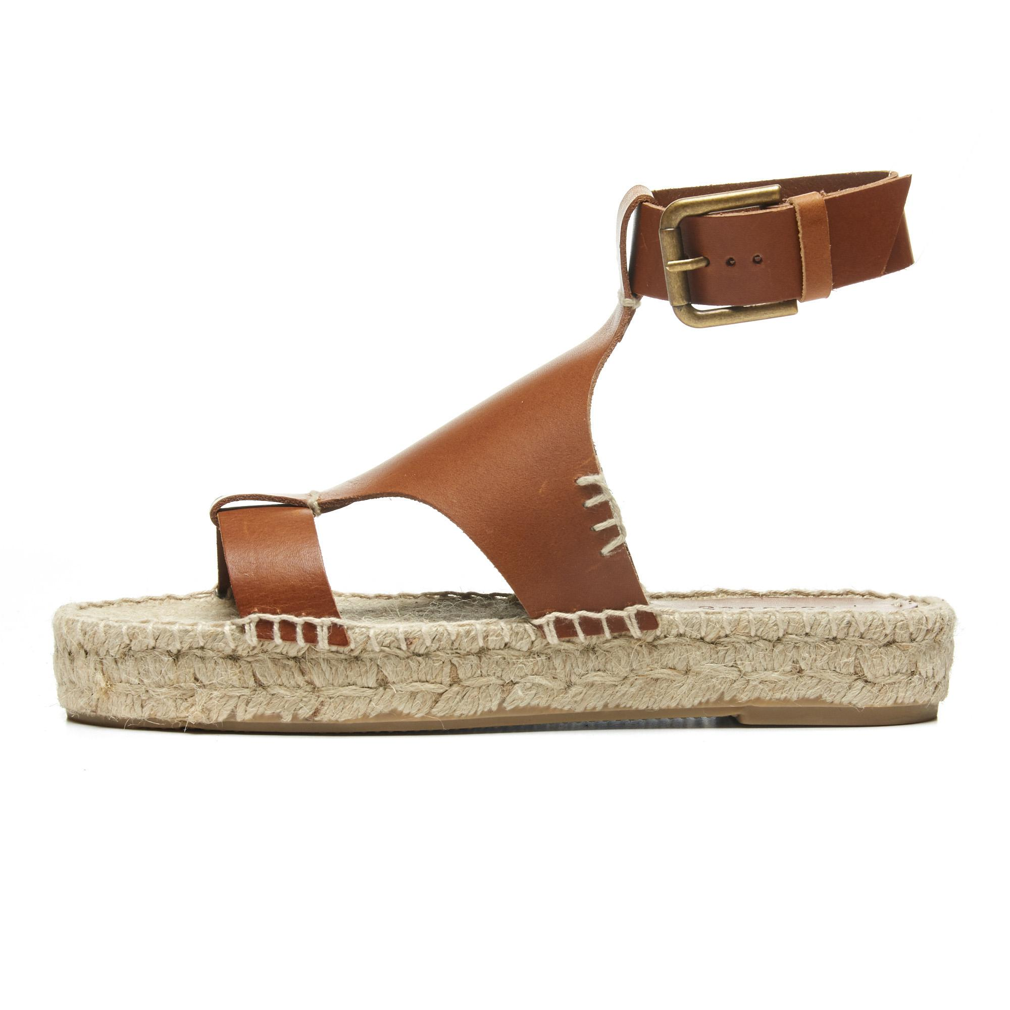 e52d169c198 Lyst - Soludos Banded Shield Open Toe Leather Sandals in Brown