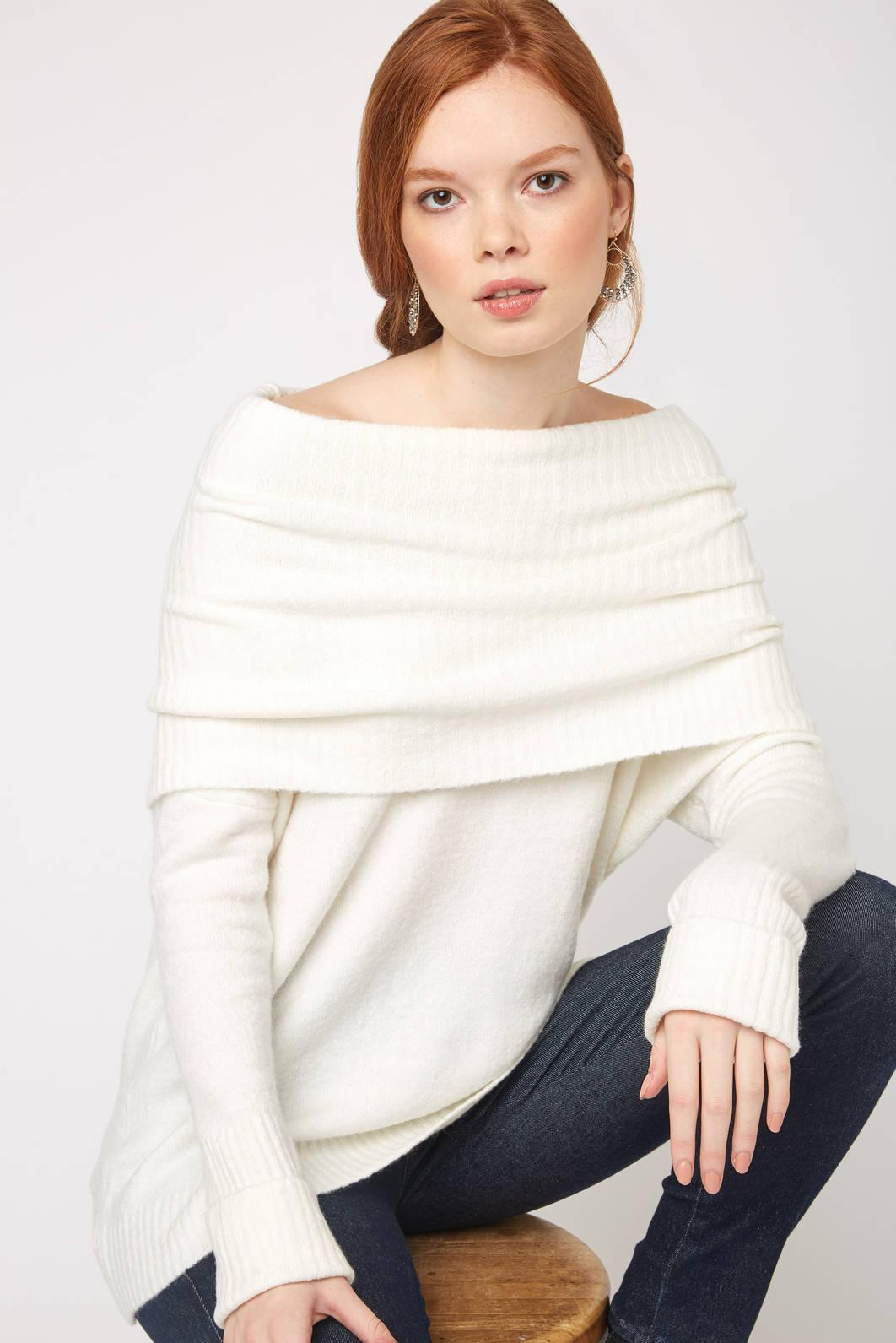 c50acf12a Lyst - South Moon Under Weekend Flossy Cowl Neck Sweater in White