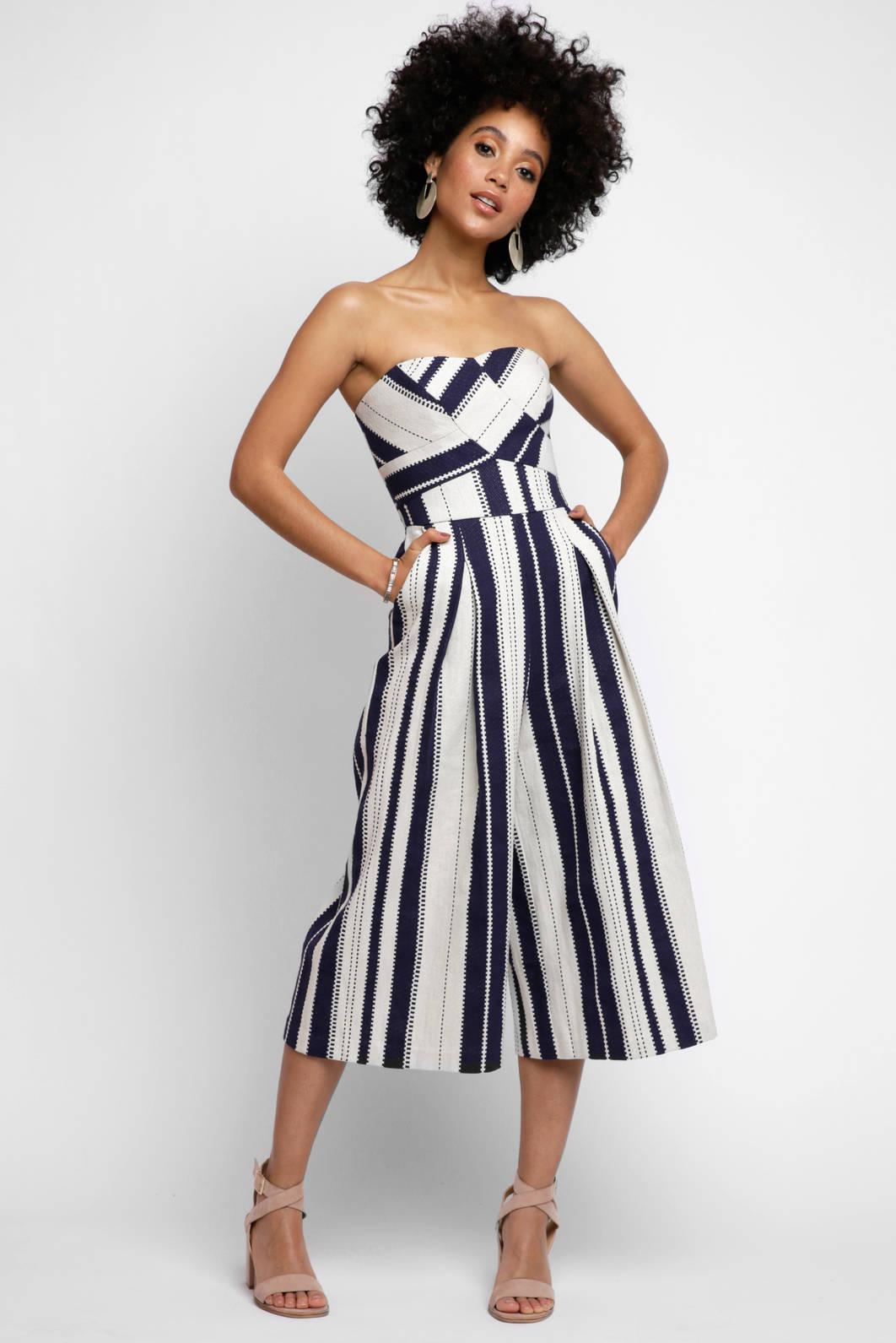 987d9c2463b Lyst - Greylin Strapless Justina Stripe Jumpsuit in Blue