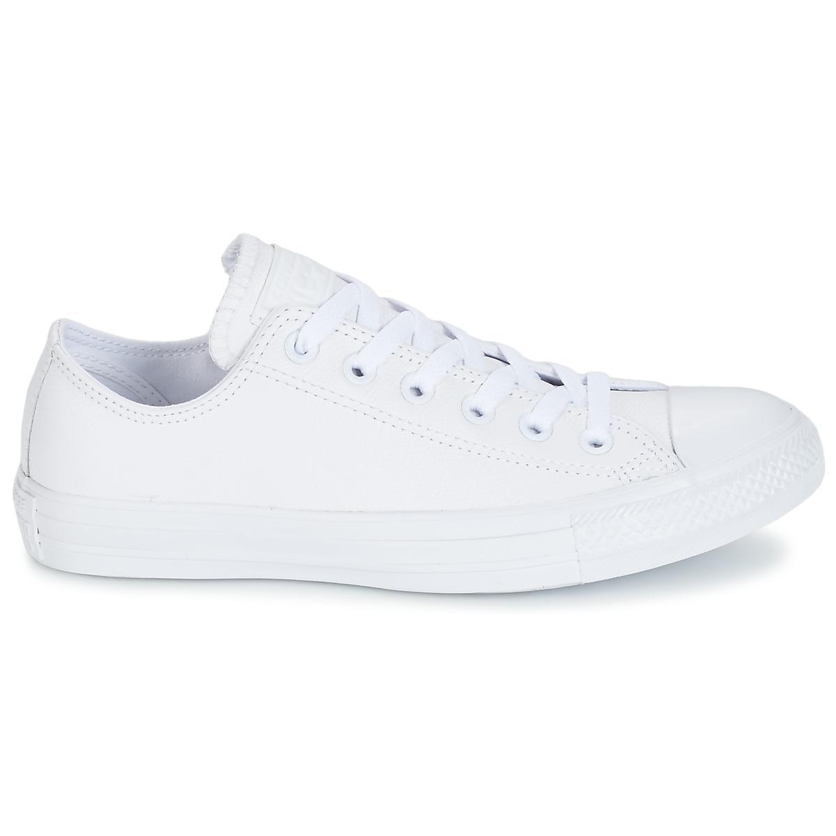 3f53e85a68bd07 Converse - All Star Monochrome Cuir Ox Women s Shoes (trainers) In White -  Lyst. View fullscreen