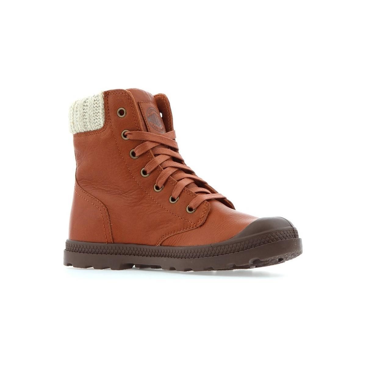 Palladium Pampa Hi Knit Lp Women s Mid Boots In Brown in Brown ... eec78dfc385b
