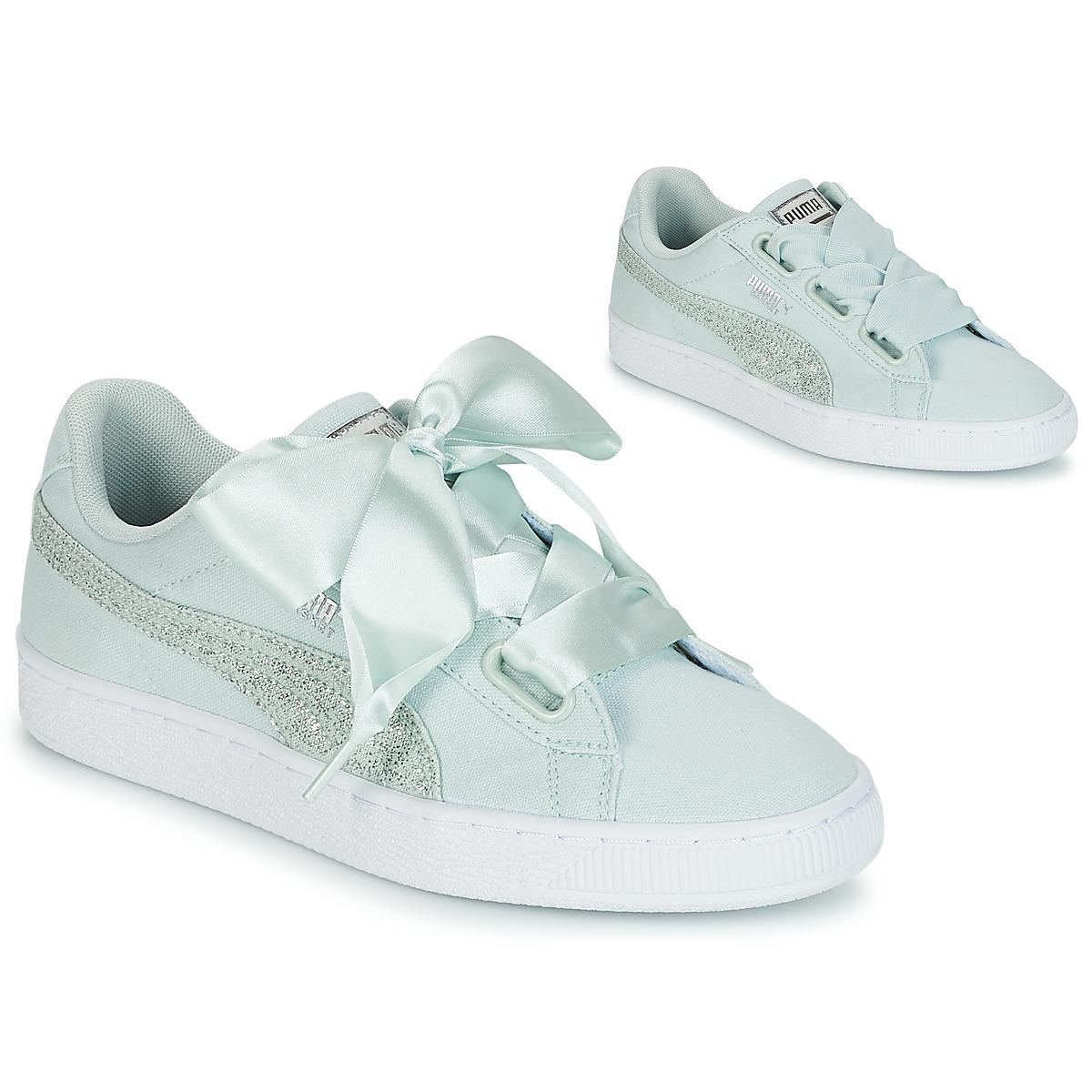 6b1bbefdd PUMA Basket Heart Canvas W's Shoes (trainers) in Green - Lyst