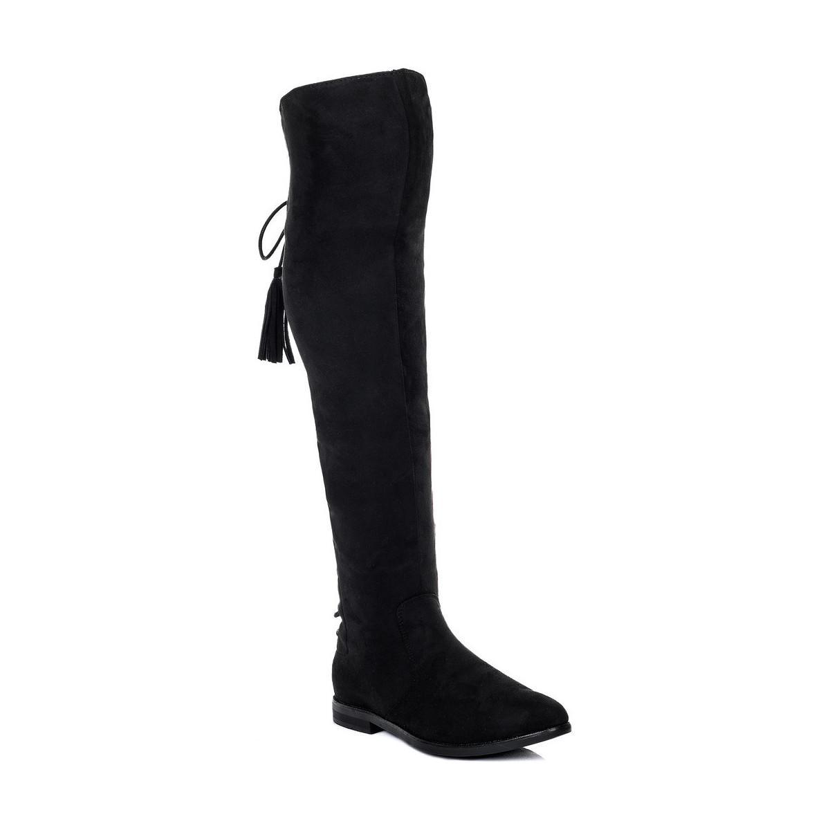 21b7e2a847c Spylovebuy Vive Stretch Flat Knee High Tall Boots - Black Suede ...