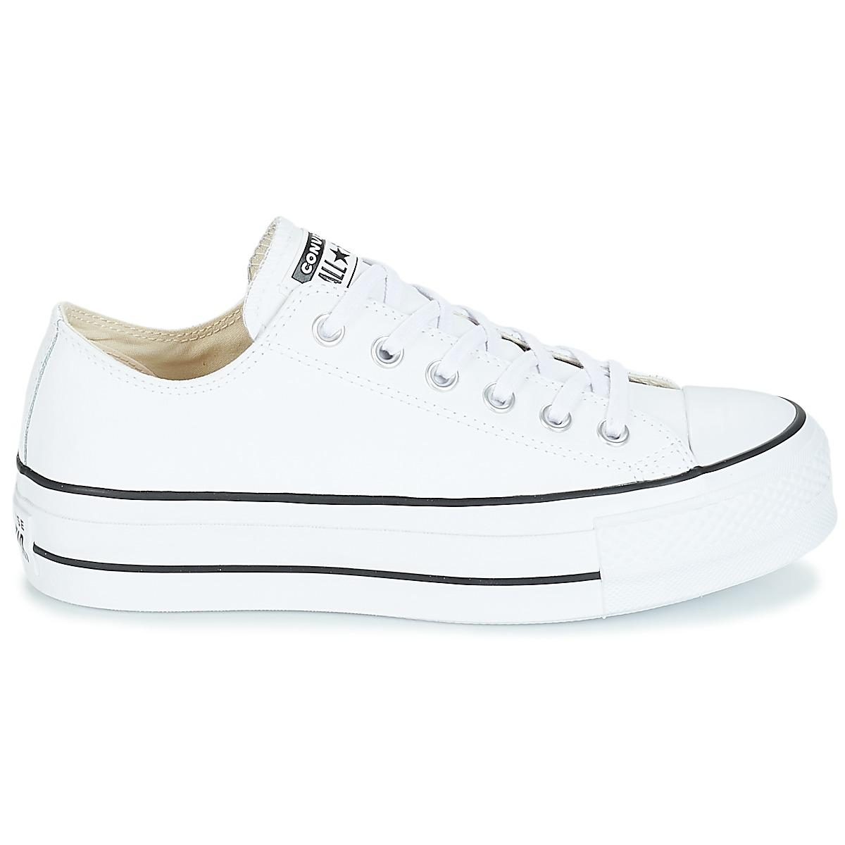 56ad87f57e8cf Converse - White CHUCK TAYLOR ALL STAR LIFT CLEAN OX femmes Chaussures en  blanc - Lyst. Afficher en plein écran