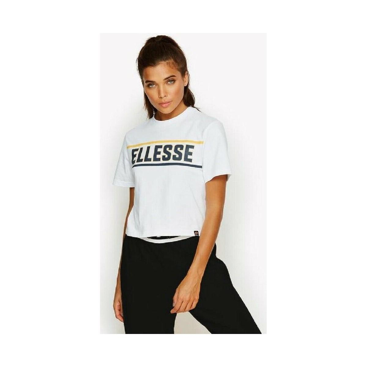 99f90d104be Ellesse - Palermo Cropped Tee Shirt Women's T Shirt In White - Lyst. View  fullscreen