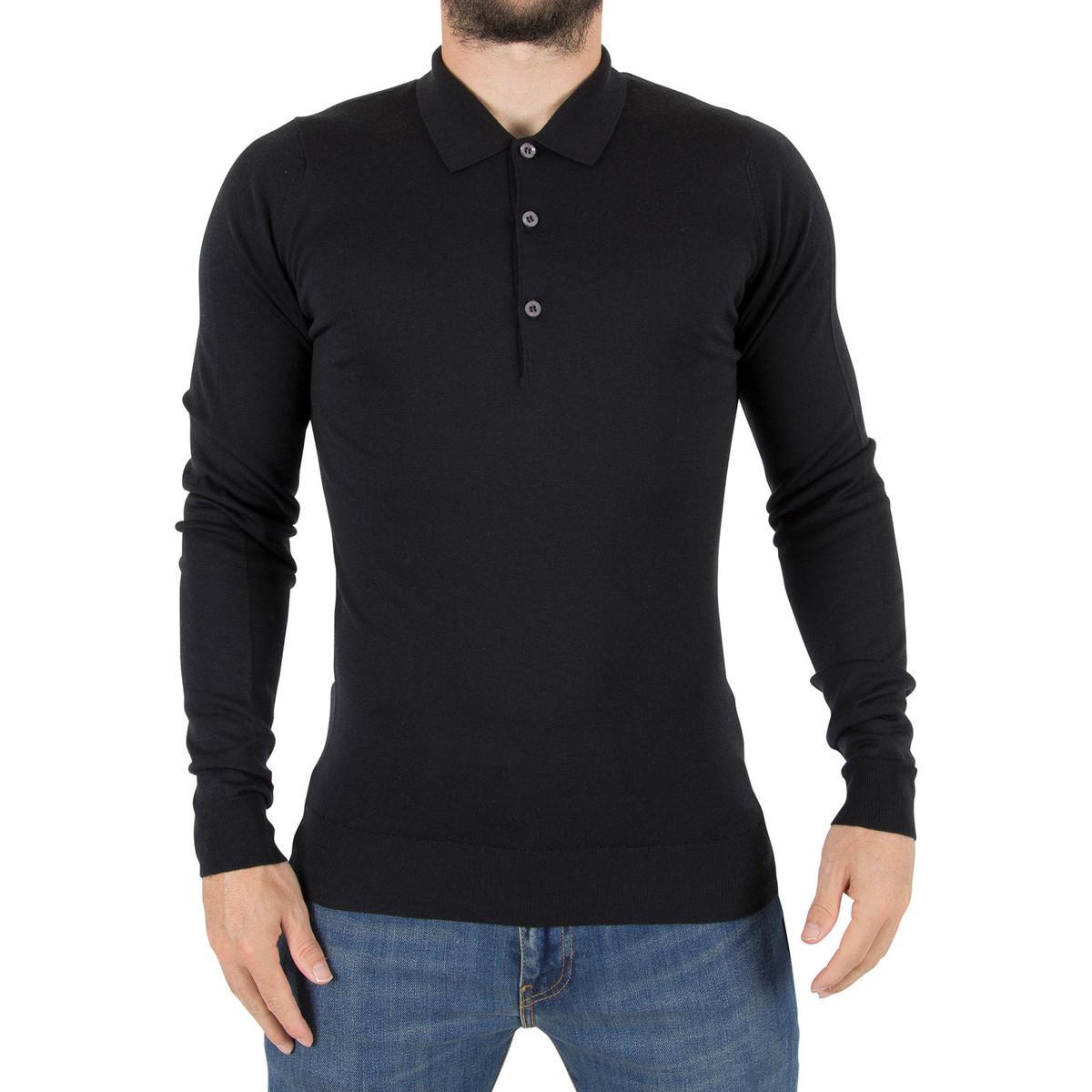 d75777c9 John Smedley Men's Belper Longsleeved Polo Shirt Knit, Black Men's ...