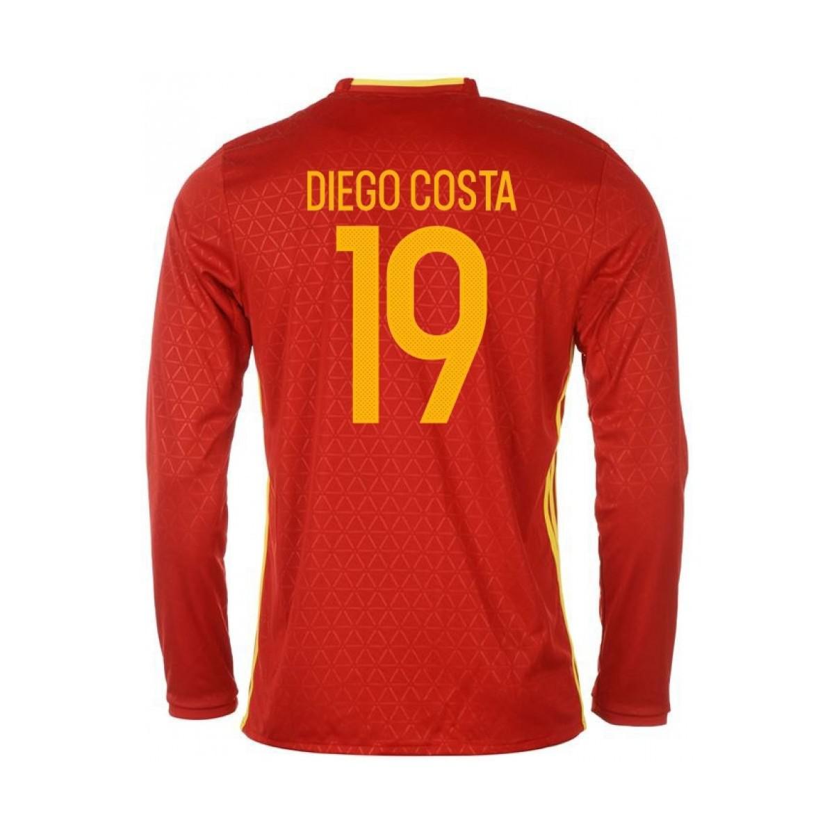 Adidas 2016-2017 Spain Long Sleeve Home Shirt (diego Costa 19) Men s ... 683d16d44