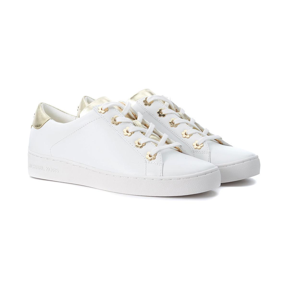 43fa326930ed MICHAEL Michael Kors Irving White And Gold Leather Sneakers Women s ...
