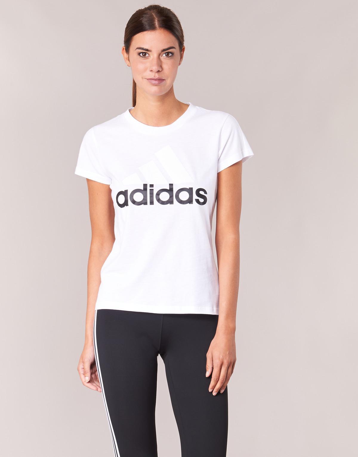 Adidas - Ess Li Sli Tee Women's T Shirt In White - Lyst. View Fullscreen