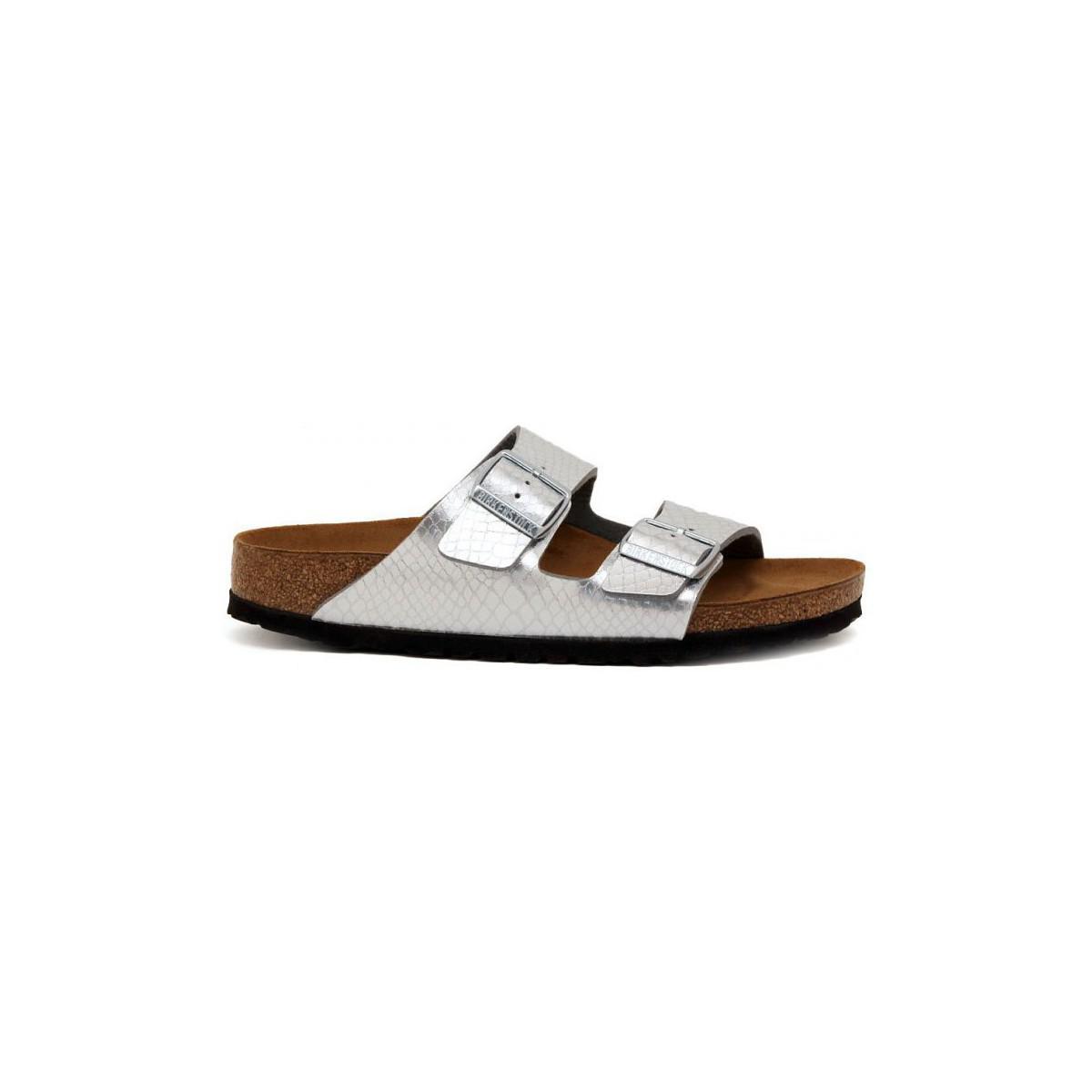 lyst birkenstock arizona silber women 39 s sandals in. Black Bedroom Furniture Sets. Home Design Ideas