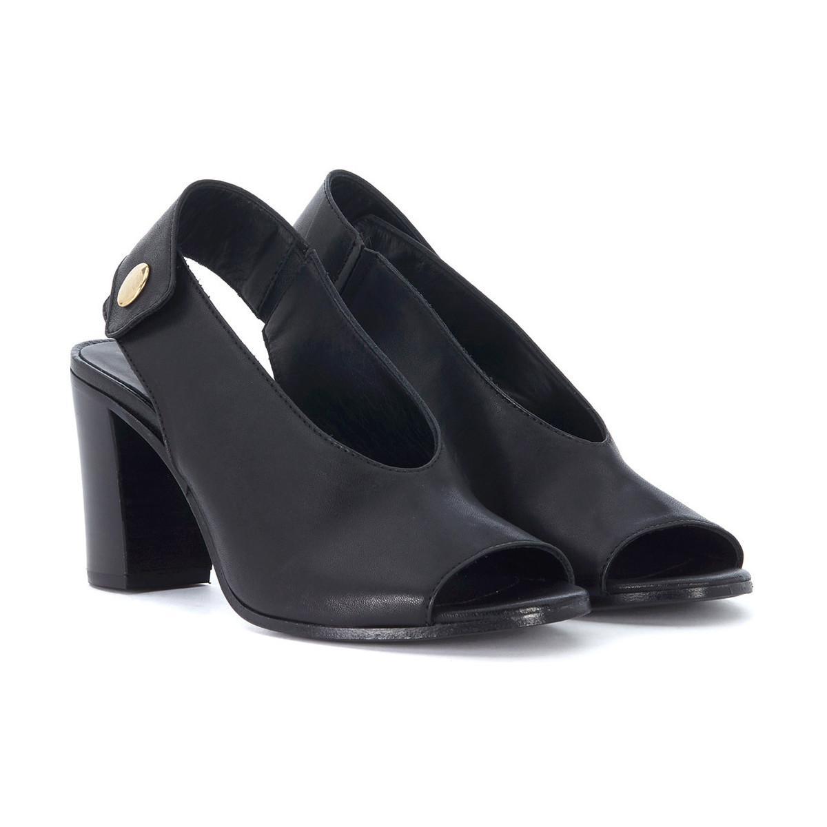 Lemaré Sandalo con tacco in pelle nera con bottone women's Sandals in Free Shipping Classic Che6O