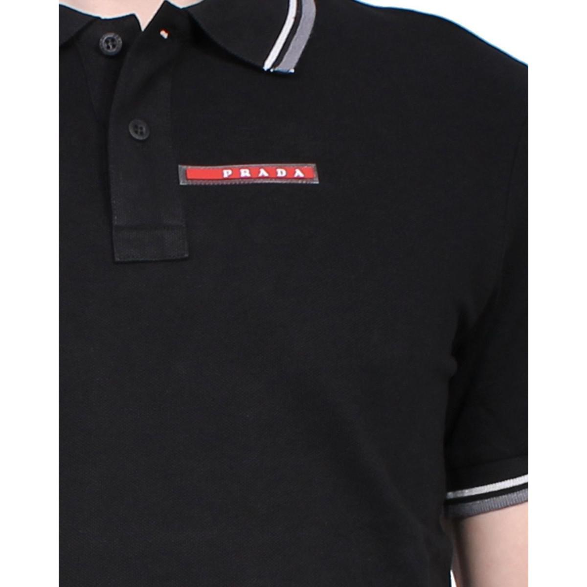 69189766 Prada - Slim Fit Men's Polo Sjj887 Men's Polo Shirt In Black in ...