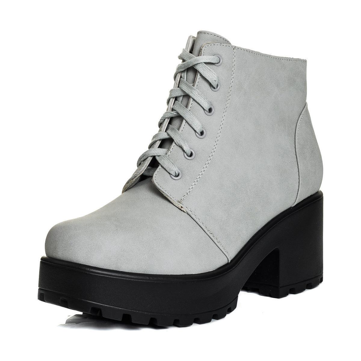b37d692ccef SPYLOVEBUY Hothead Lace Up Block Heel Ankle Boots Shoes - Stone ...
