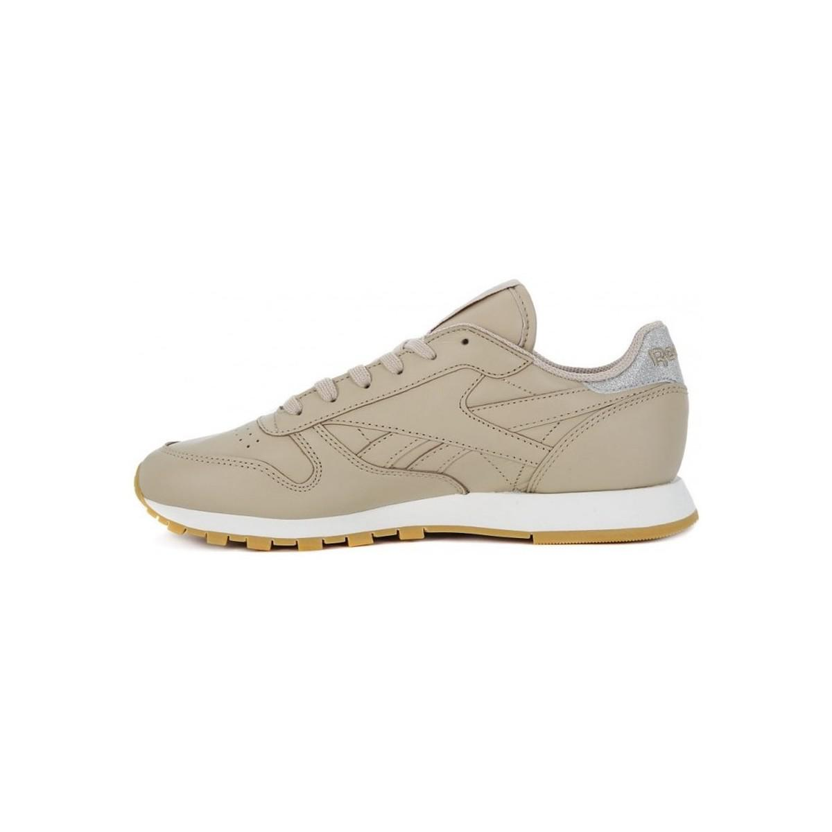 9020cbb9656 Reebok - Natural Classic Lthr Met Diamond Women s Shoes (trainers) In Beige  - Lyst. View fullscreen